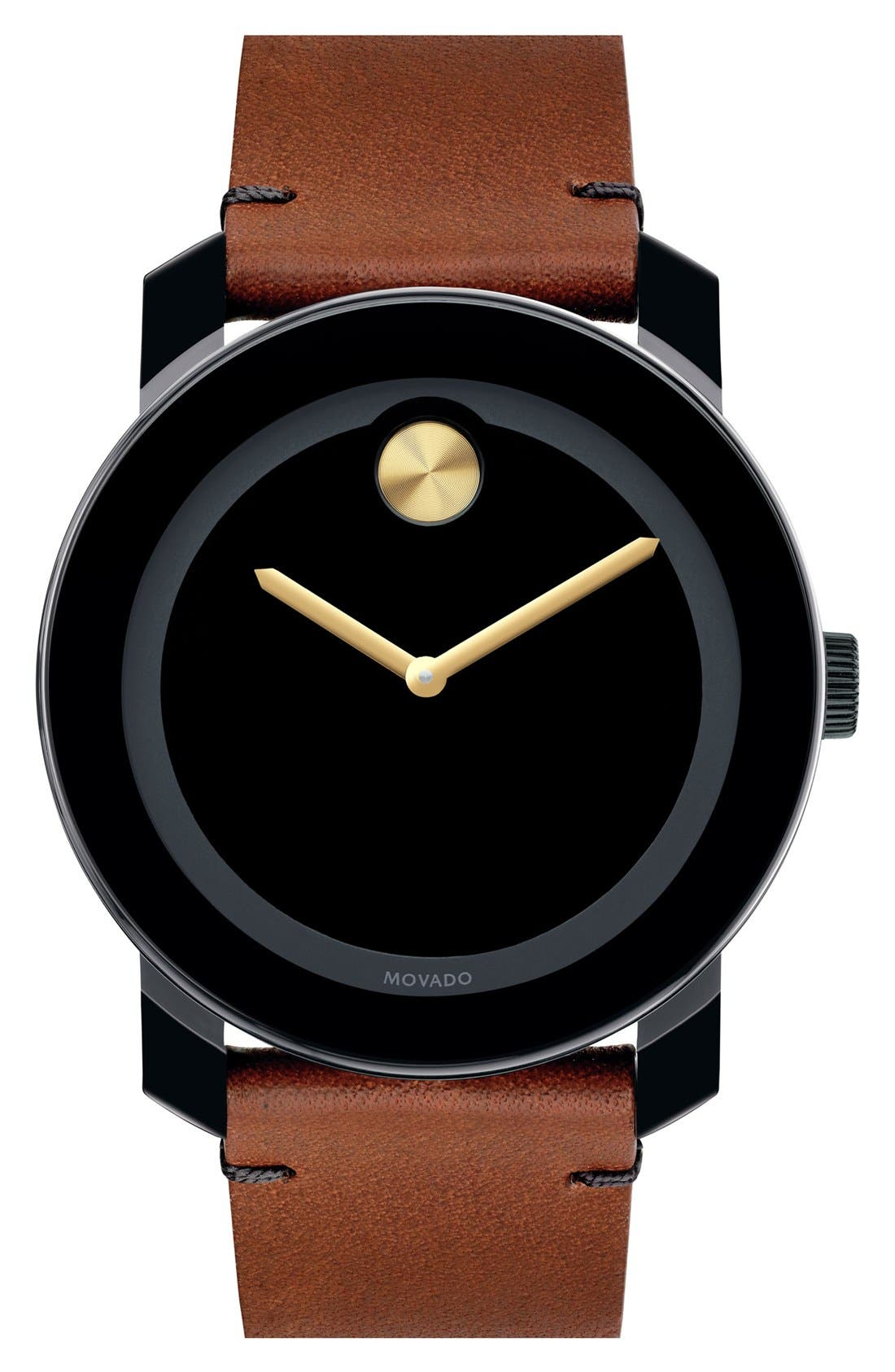 MOVADO, 'Bold' Leather Strap Watch, 42mm, Main thumbnail 1, color, BROWN/ BLACK/ GOLD