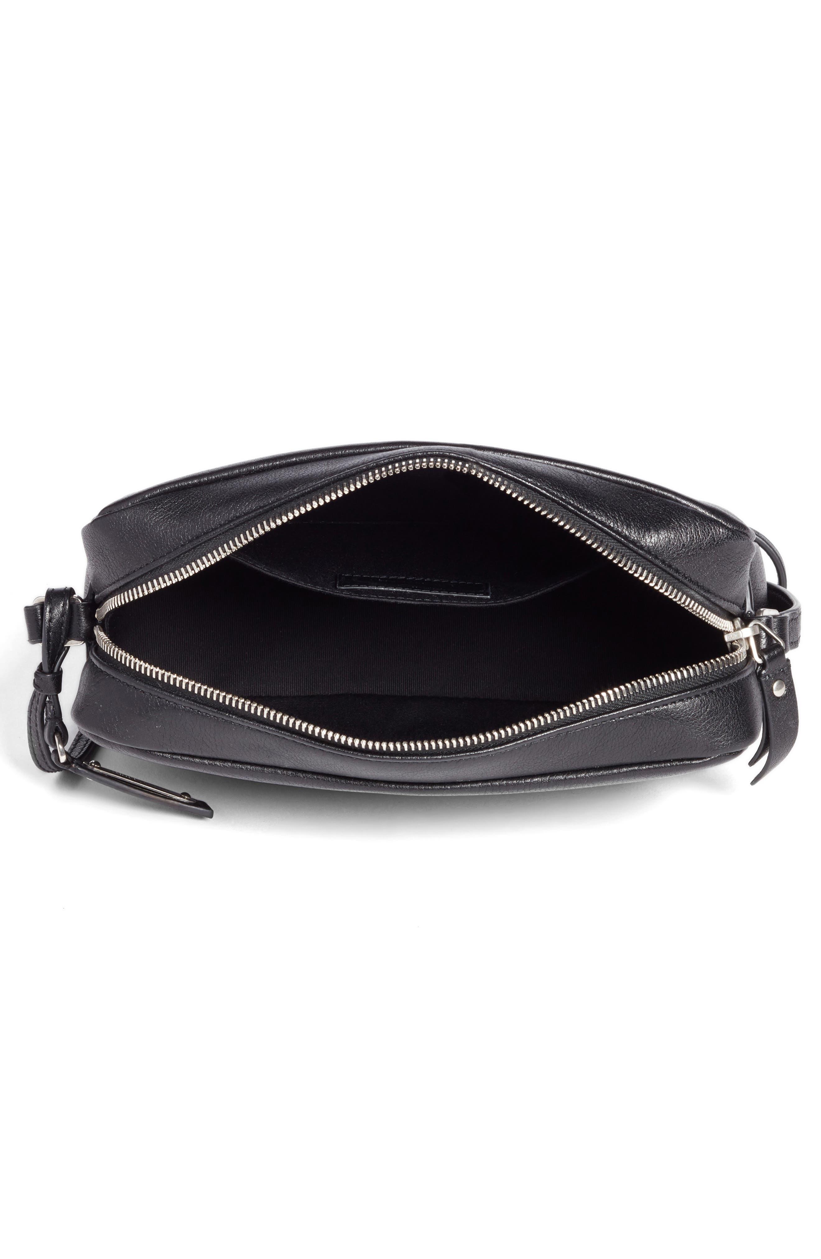 SAINT LAURENT, Small Mono Leather Camera Bag, Alternate thumbnail 4, color, NOIR
