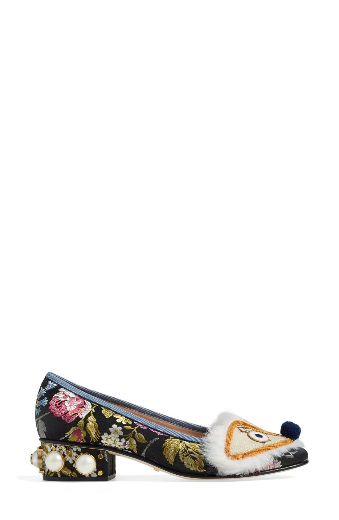 GUCCI, 'Kimberly' Embellished Pump, Alternate thumbnail 4, color, 020
