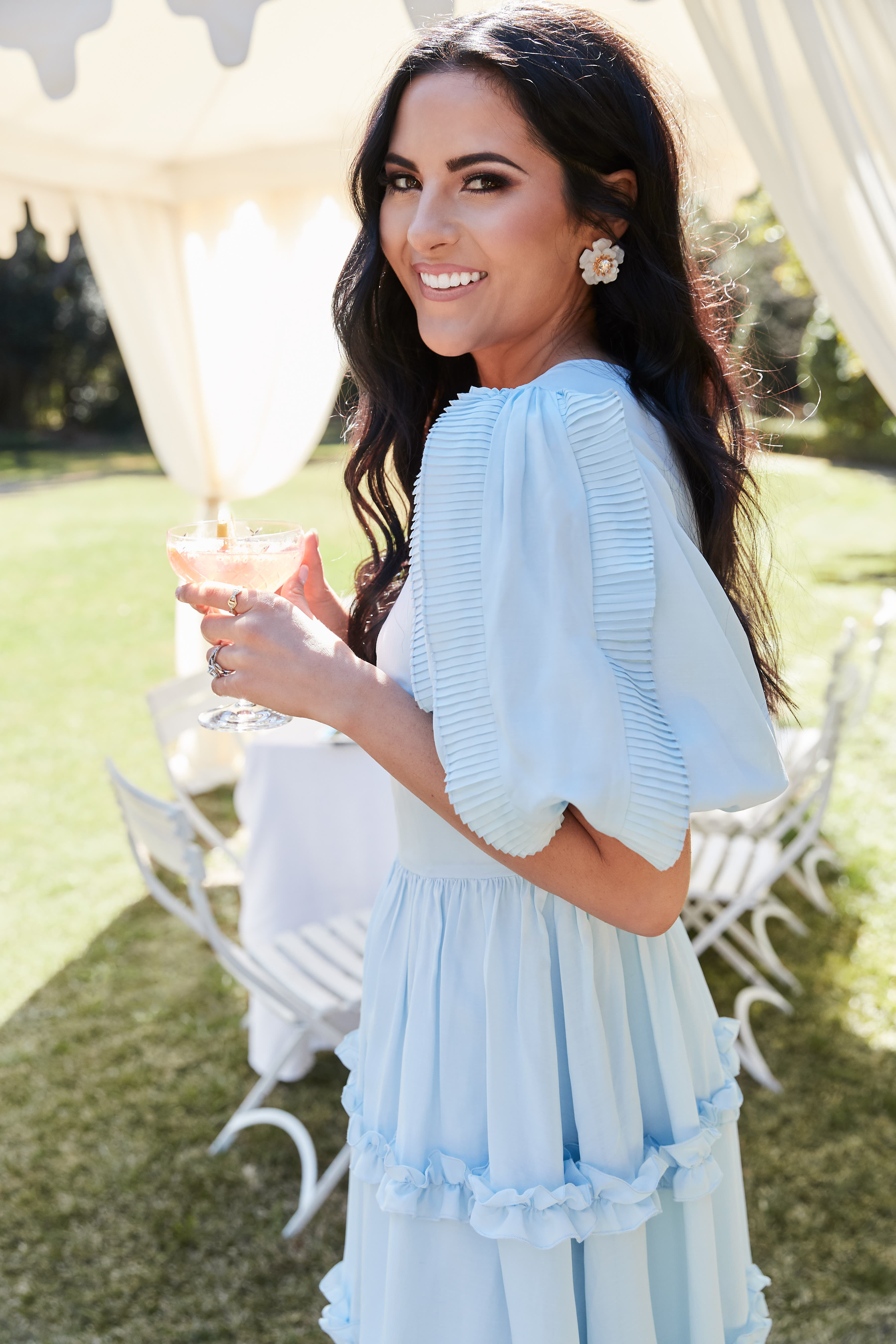 RACHEL PARCELL, Ruffle Sleeve Dress, Alternate thumbnail 9, color, BLUE WINTER