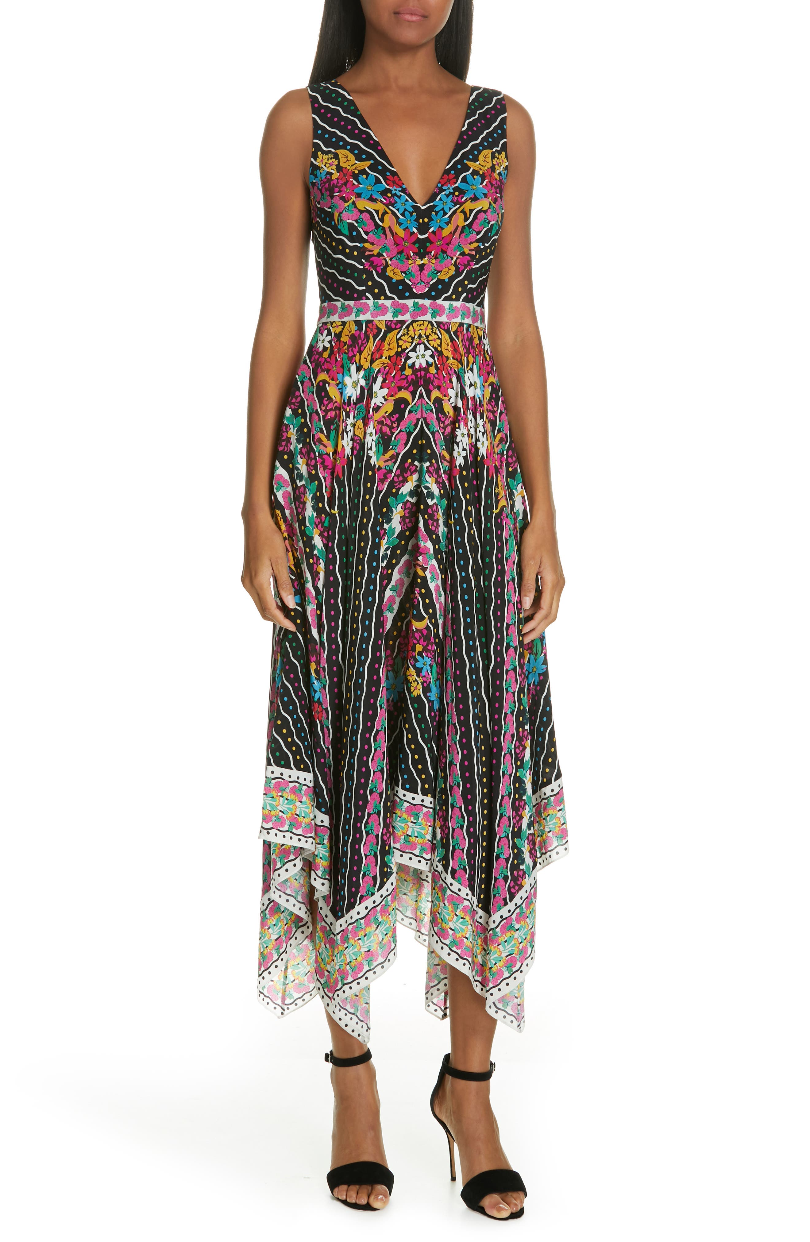 SALONI, Zuri Floral Print Dress, Main thumbnail 1, color, 001