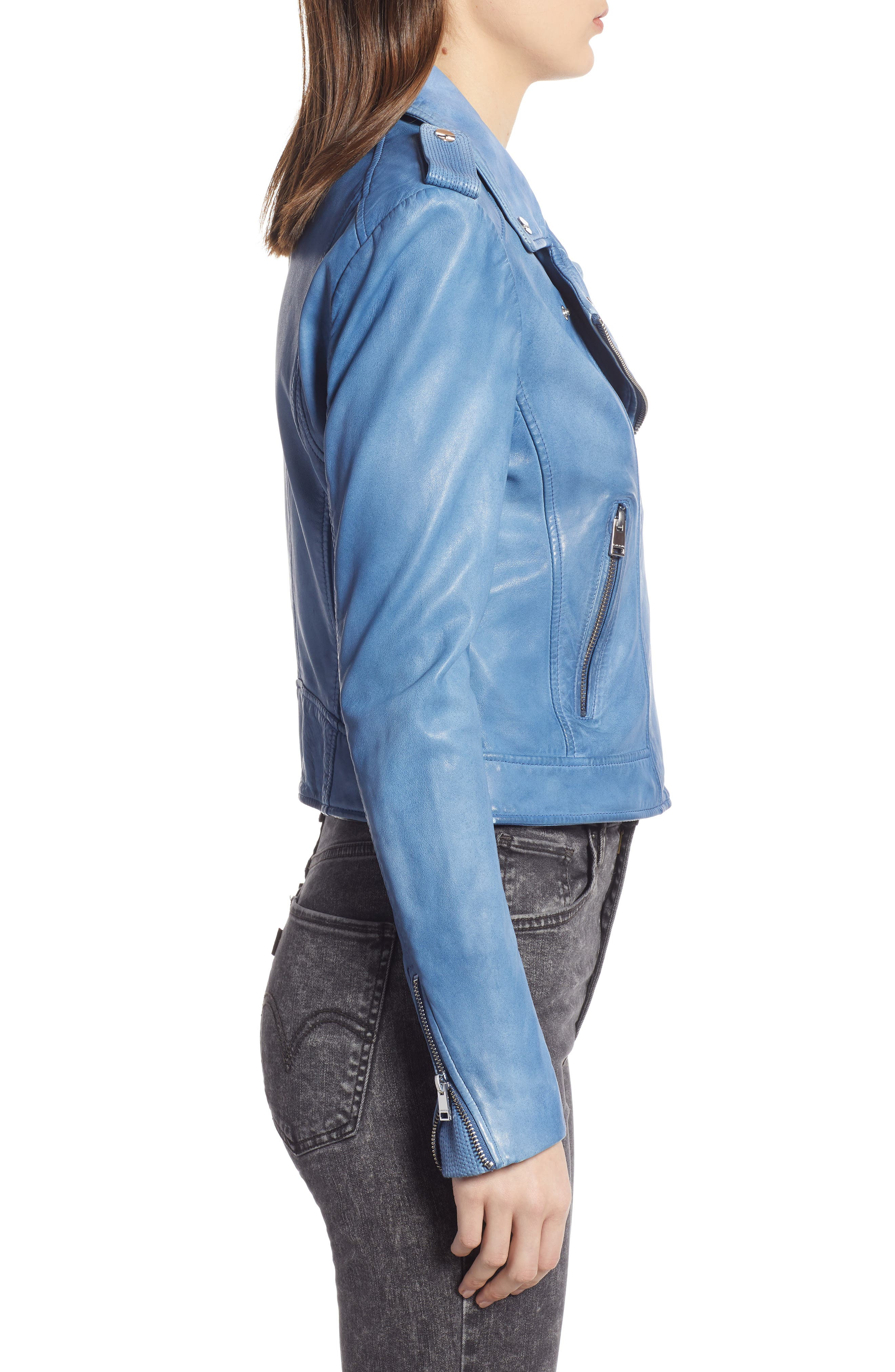LAMARQUE, Donna Lambskin Leather Moto Jacket, Alternate thumbnail 3, color, FADED DENIM