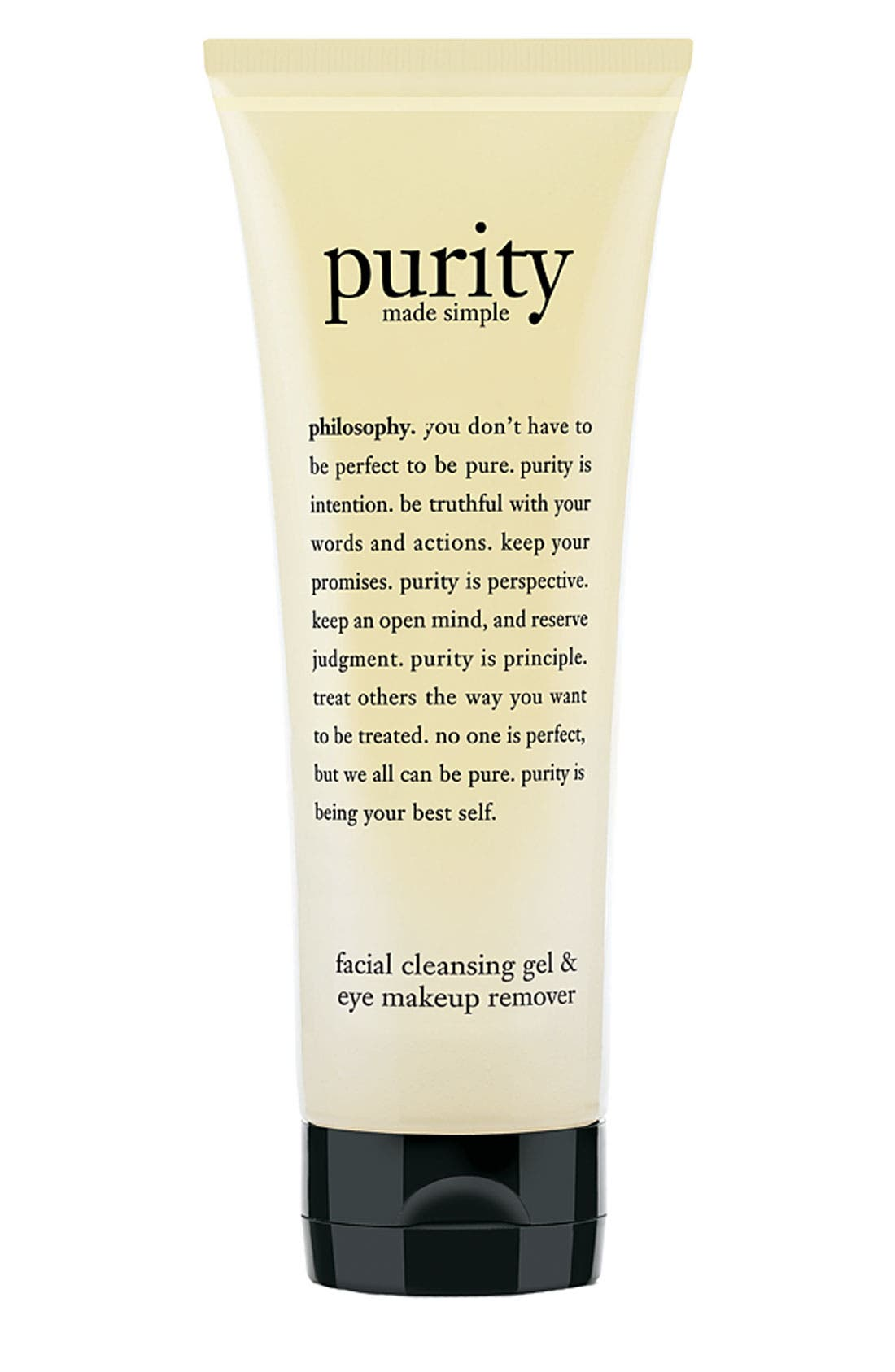PHILOSOPHY, 'purity made simple' facial cleansing gel & eye makeup remover, Main thumbnail 1, color, NO COLOR