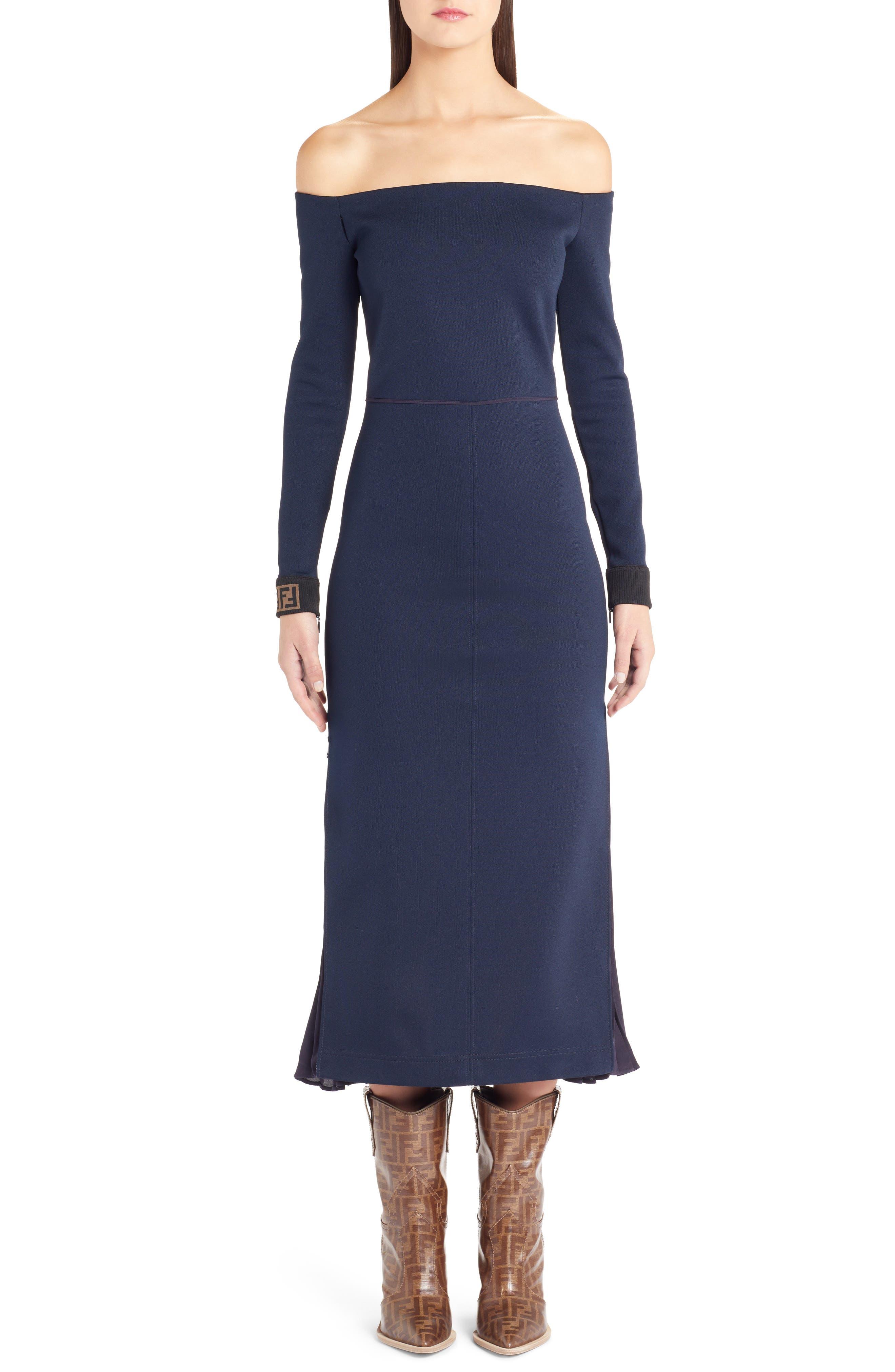 Fendi Logo Cuff Off The Shoulder Midi Dress, 8 IT - Blue