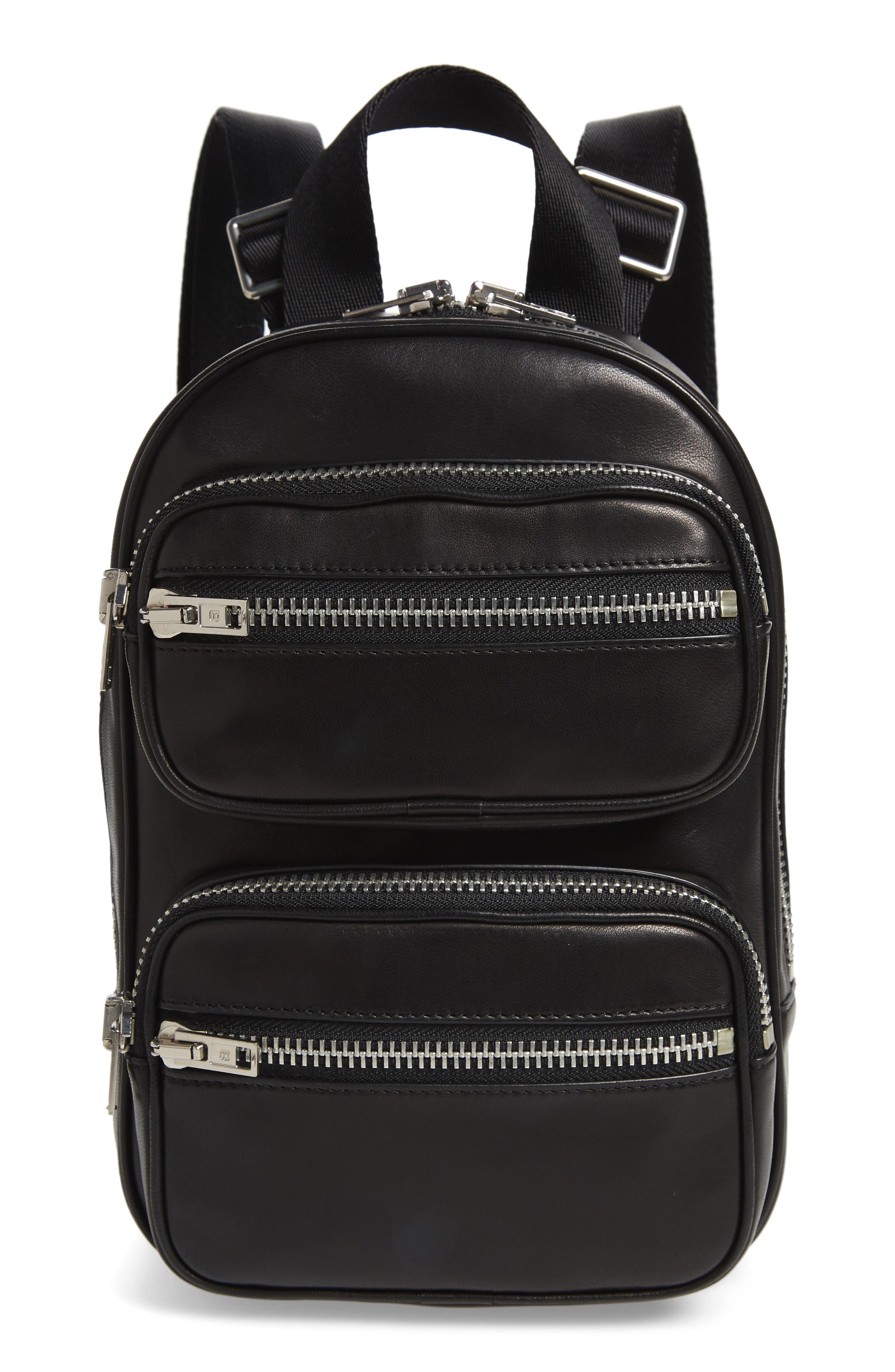 ALEXANDER WANG, Attica Lambskin Leather Backpack, Main thumbnail 1, color, BLACK