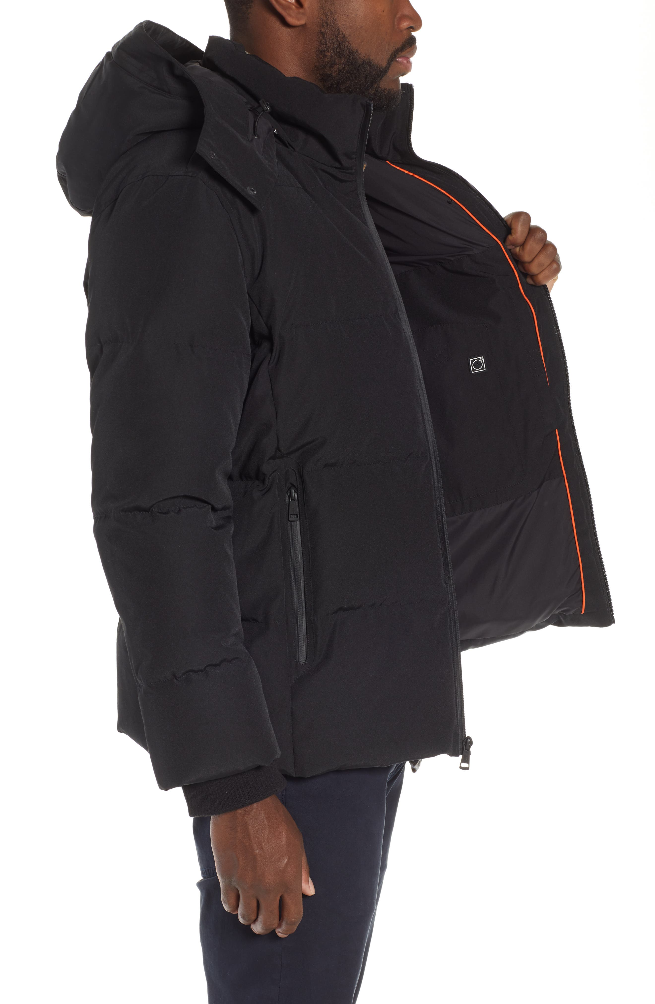 COLE HAAN SIGNATURE, Hooded Puffer Jacket, Alternate thumbnail 4, color, 001