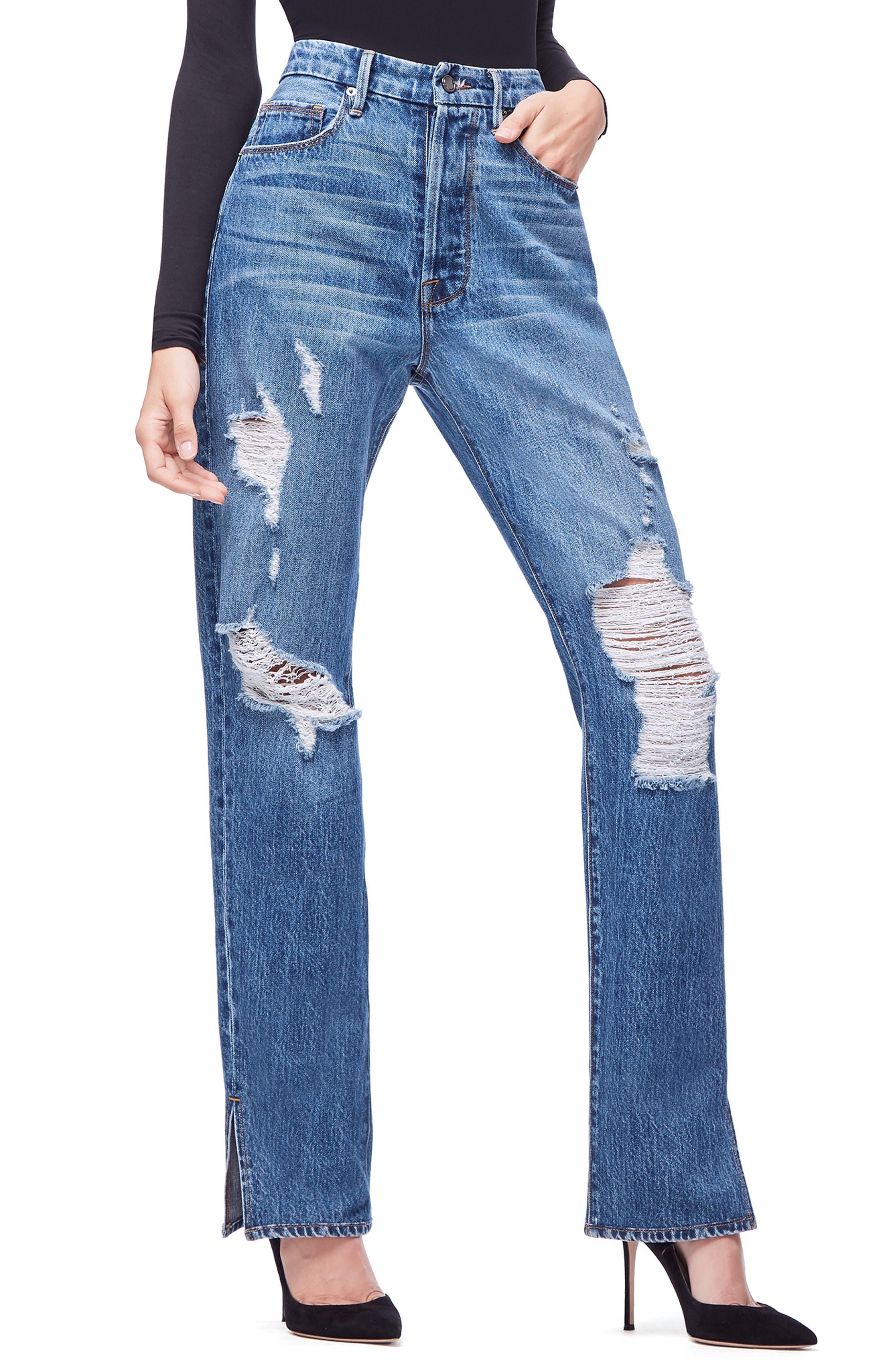 GOOD AMERICAN, Good Boy High Rise Ripped Boyfriend Jeans, Alternate thumbnail 4, color, BLUE194
