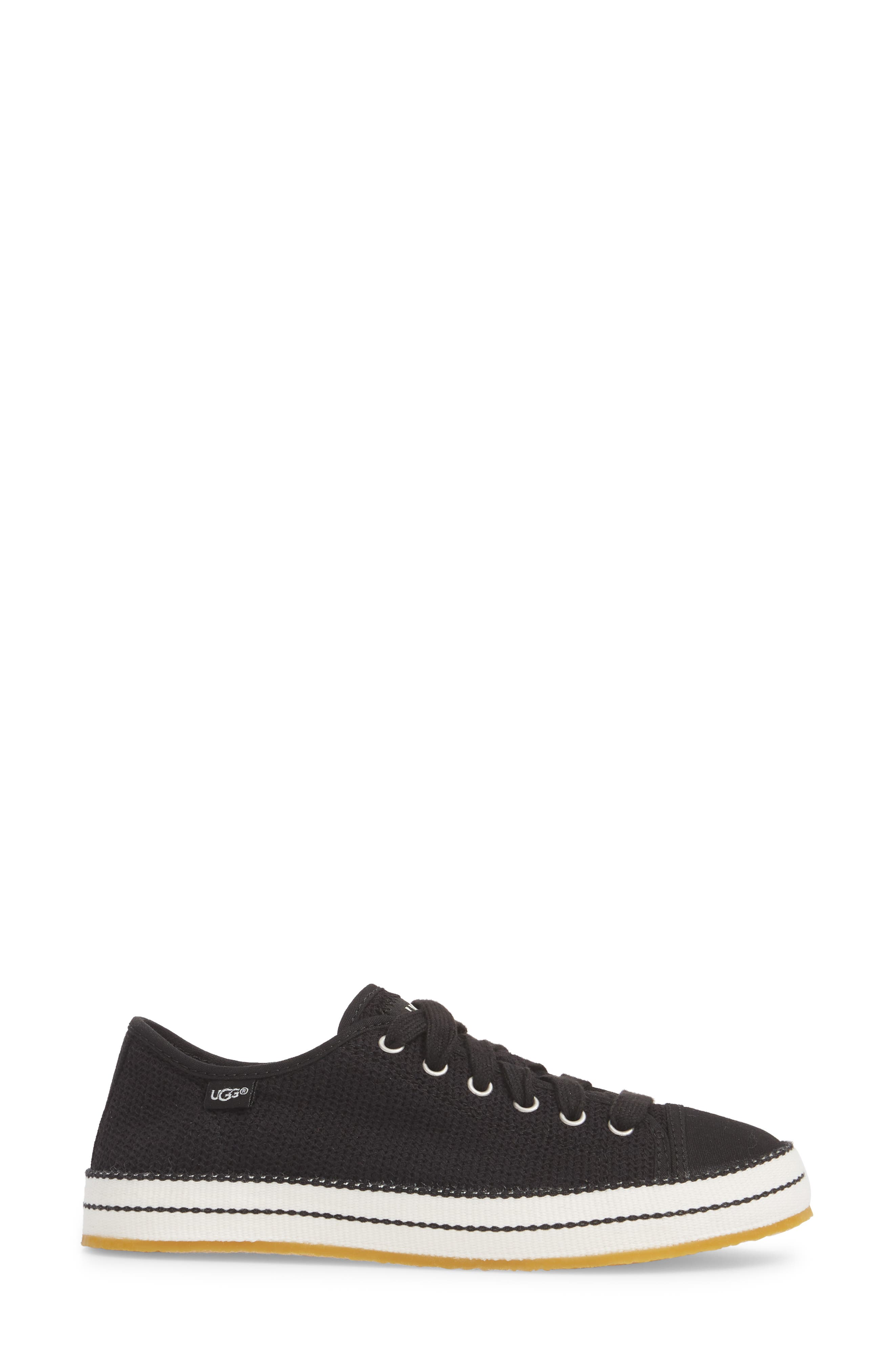 UGG<SUP>®</SUP>, Claudi Sneaker, Alternate thumbnail 3, color, BLACK