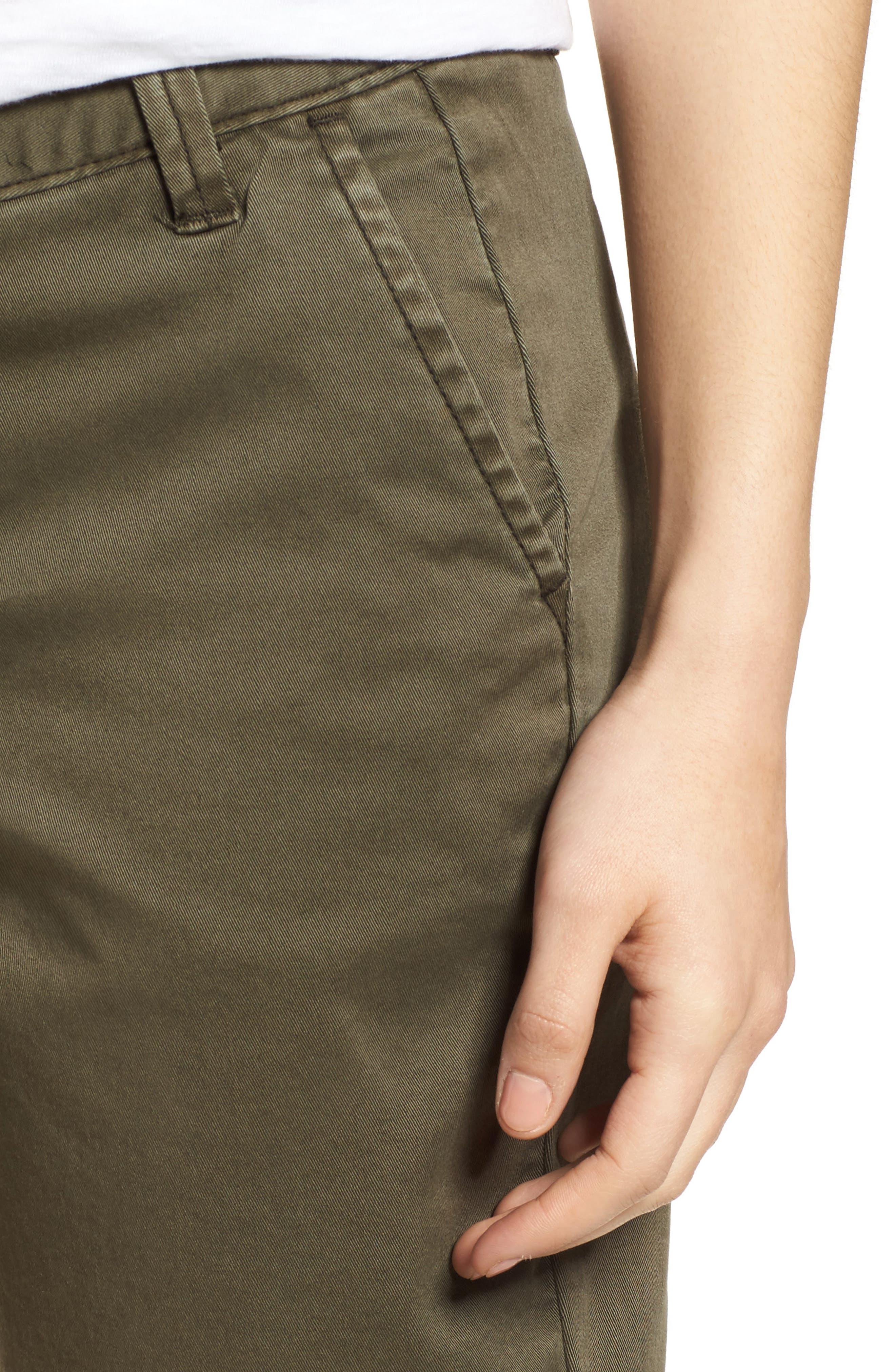 CASLON<SUP>®</SUP>, Twill Shorts, Alternate thumbnail 5, color, OLIVE SARMA