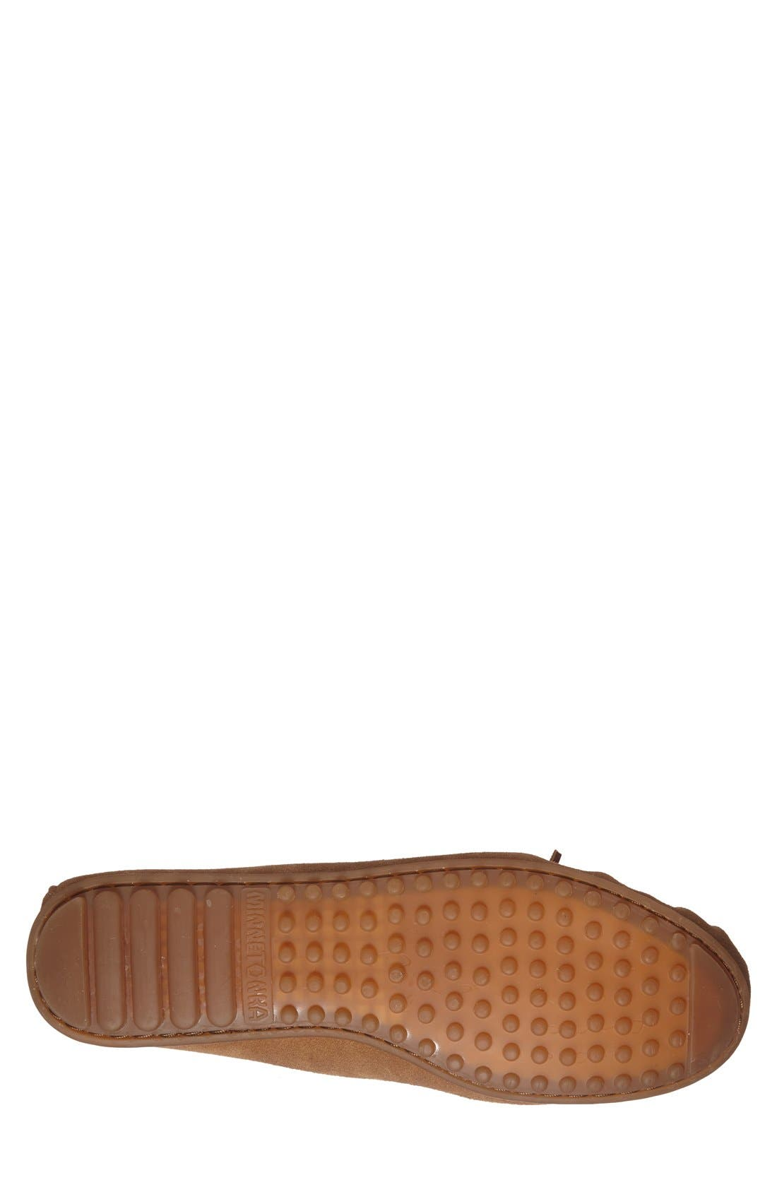 MINNETONKA, Suede Driving Shoe, Alternate thumbnail 2, color, TAUPE