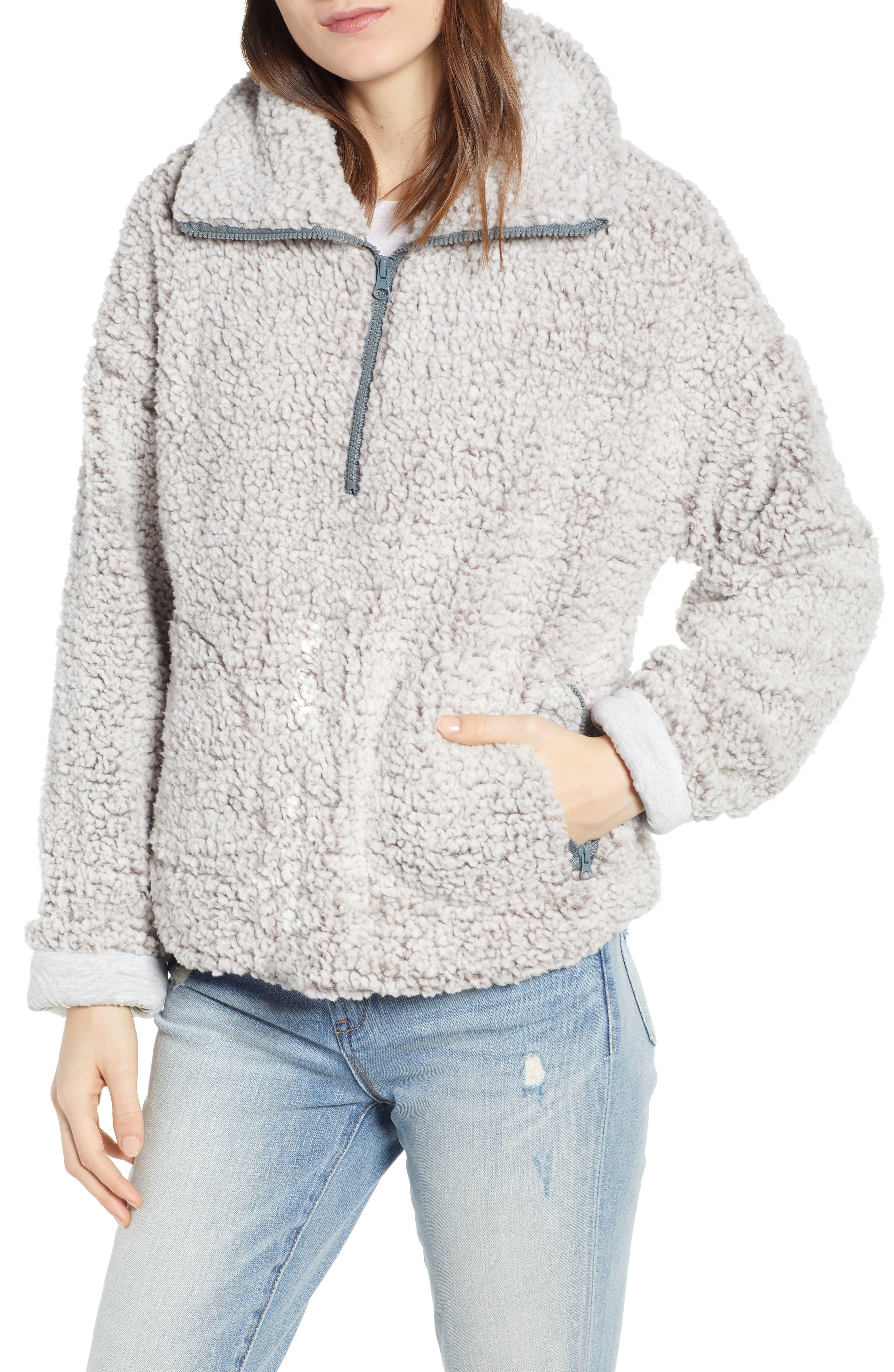 THREAD & SUPPLY, Quarter Zip Fleece Pullover, Main thumbnail 1, color, SILVER