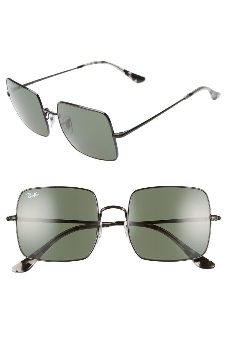 Ray Ban Sunglasses 54MM SQUARE SUNGLASSES - BLACK/ BLACK SOLID
