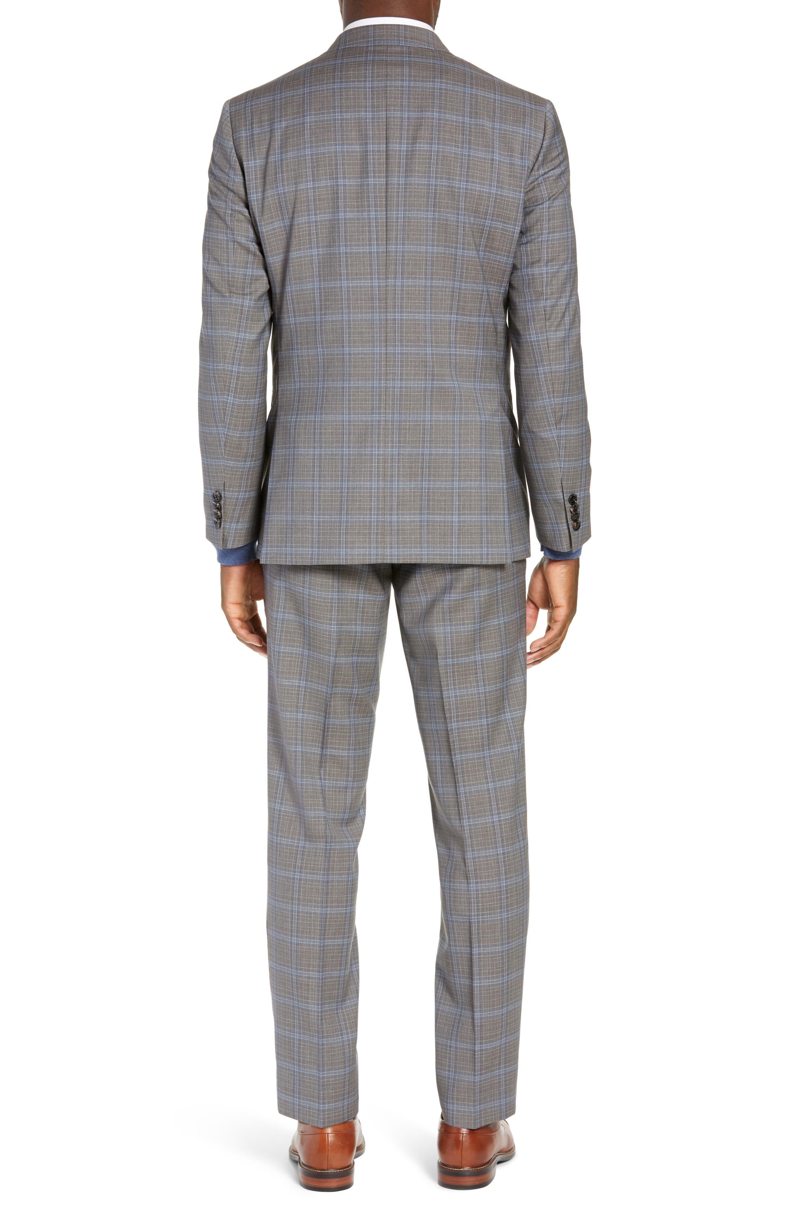 TED BAKER LONDON, Jay Trim Fit Plaid Wool Suit, Alternate thumbnail 2, color, LIGHT GREY