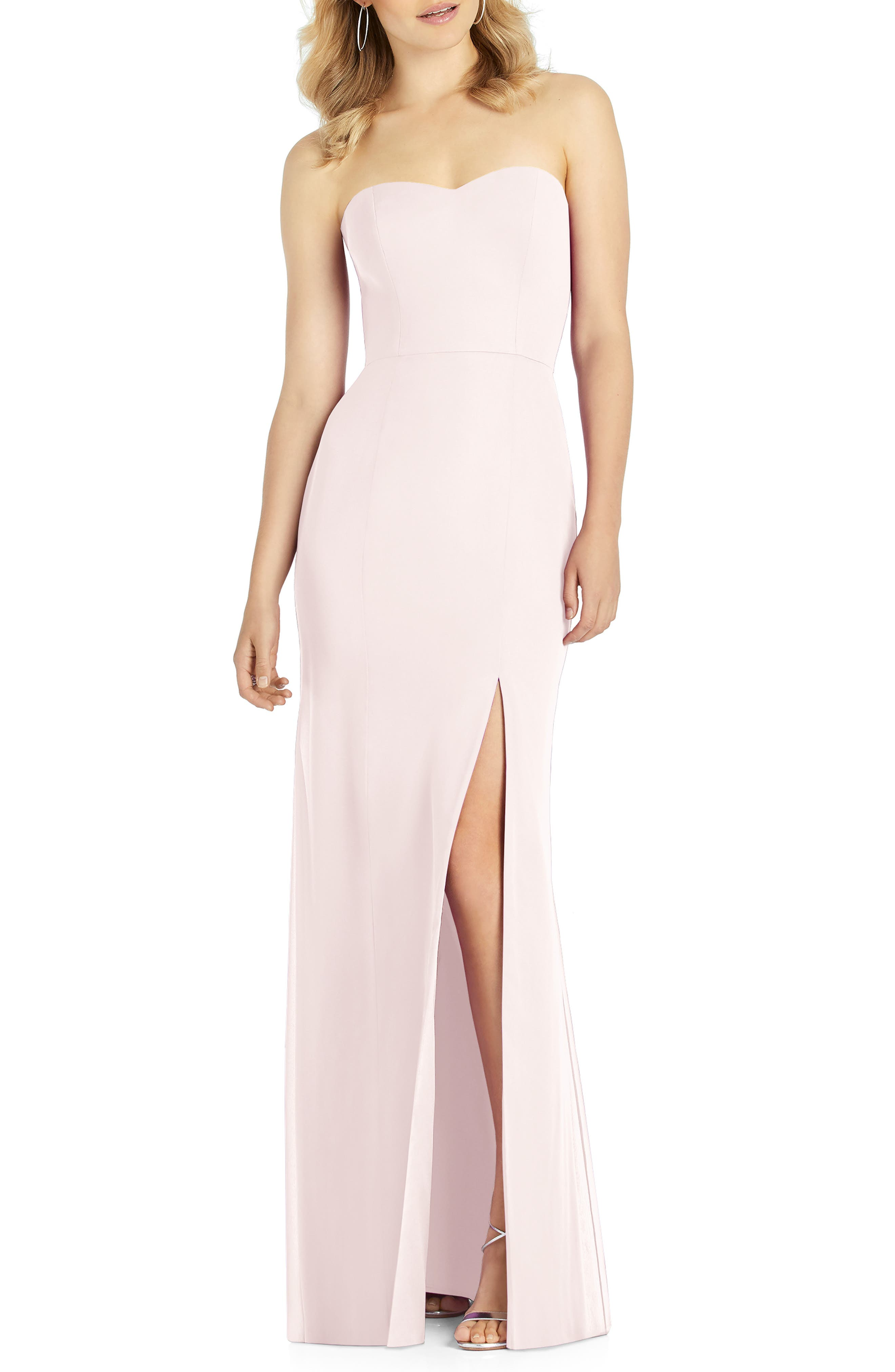 After Six Strapless Chiffon Trumpet Gown, Pink