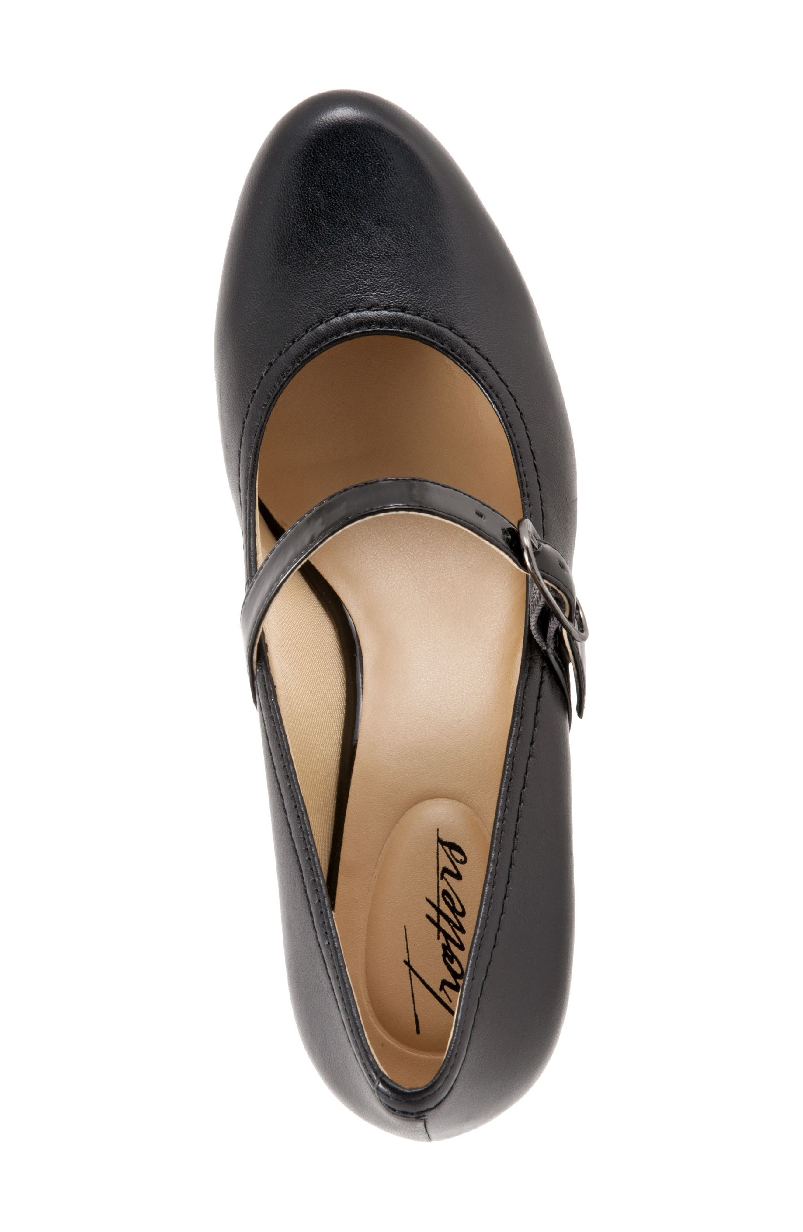 TROTTERS, 'Candice' Mary Jane Pump, Alternate thumbnail 2, color, BLACK LEATHER
