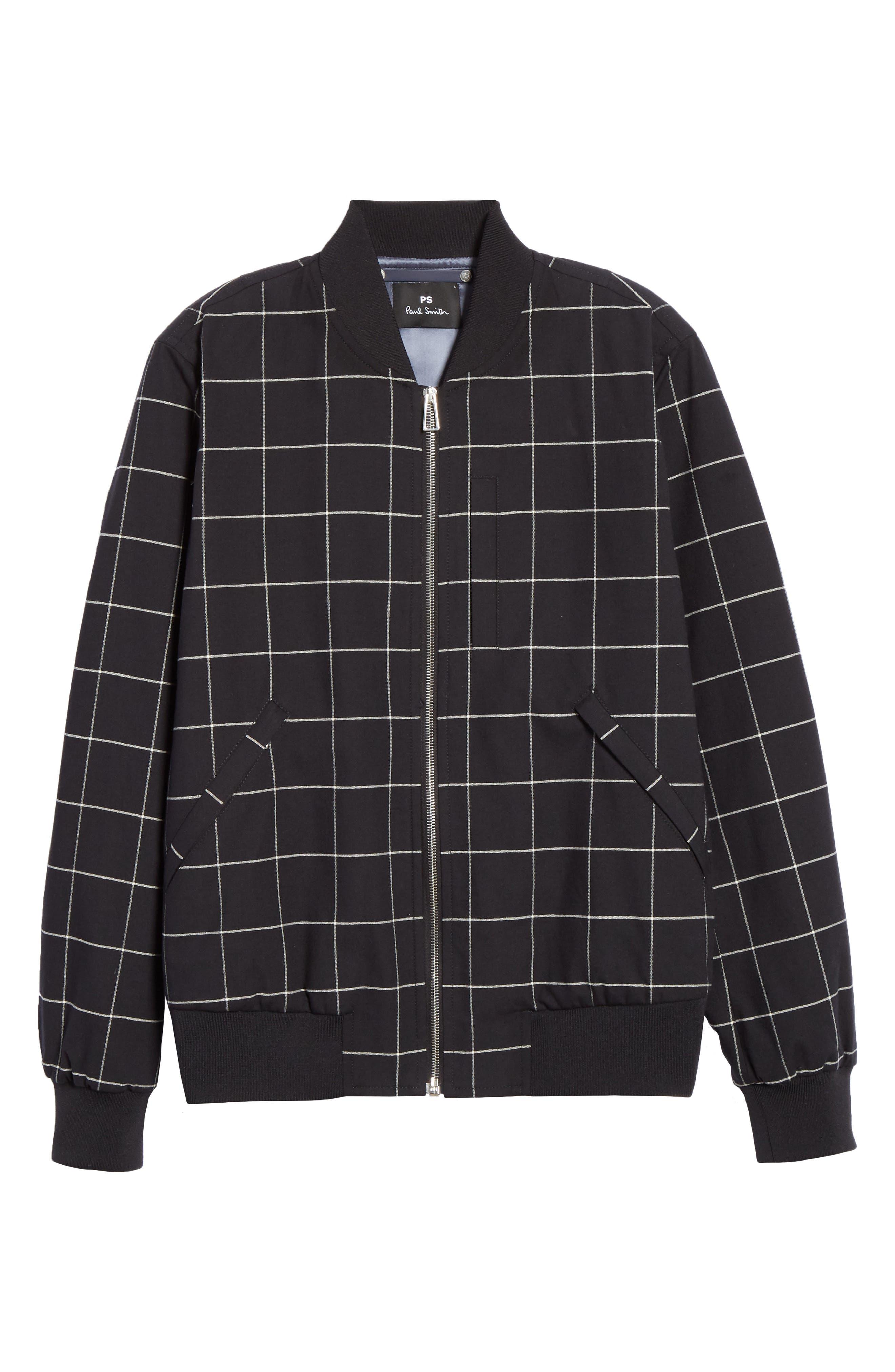 PS PAUL SMITH, Grid Wool Blend Bomber Jacket, Alternate thumbnail 5, color, BLACK