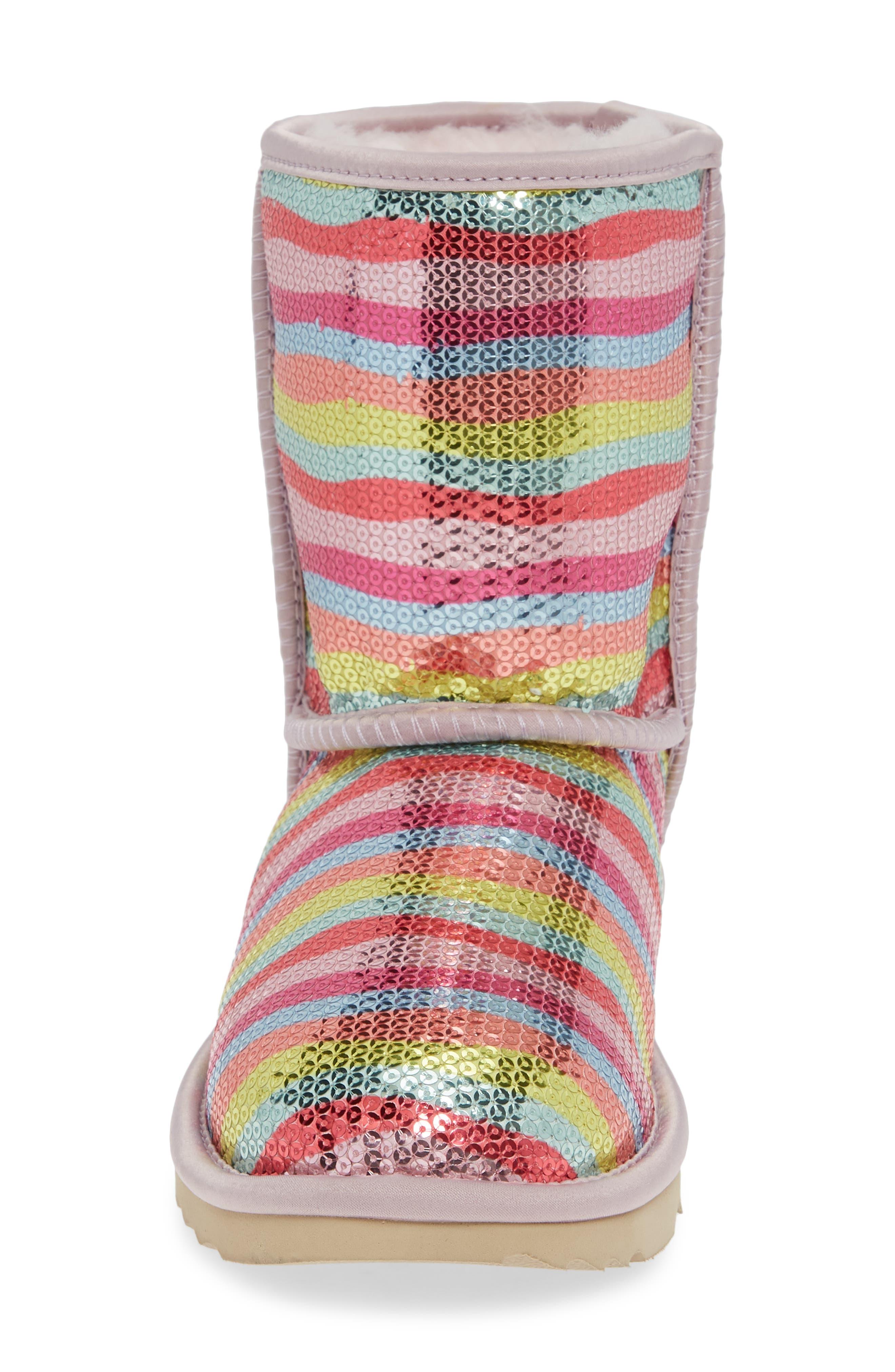 UGG<SUP>®</SUP>, Rainbow Classic Short II Sequin Stripe Boot, Alternate thumbnail 4, color, RAINBOW MULTI