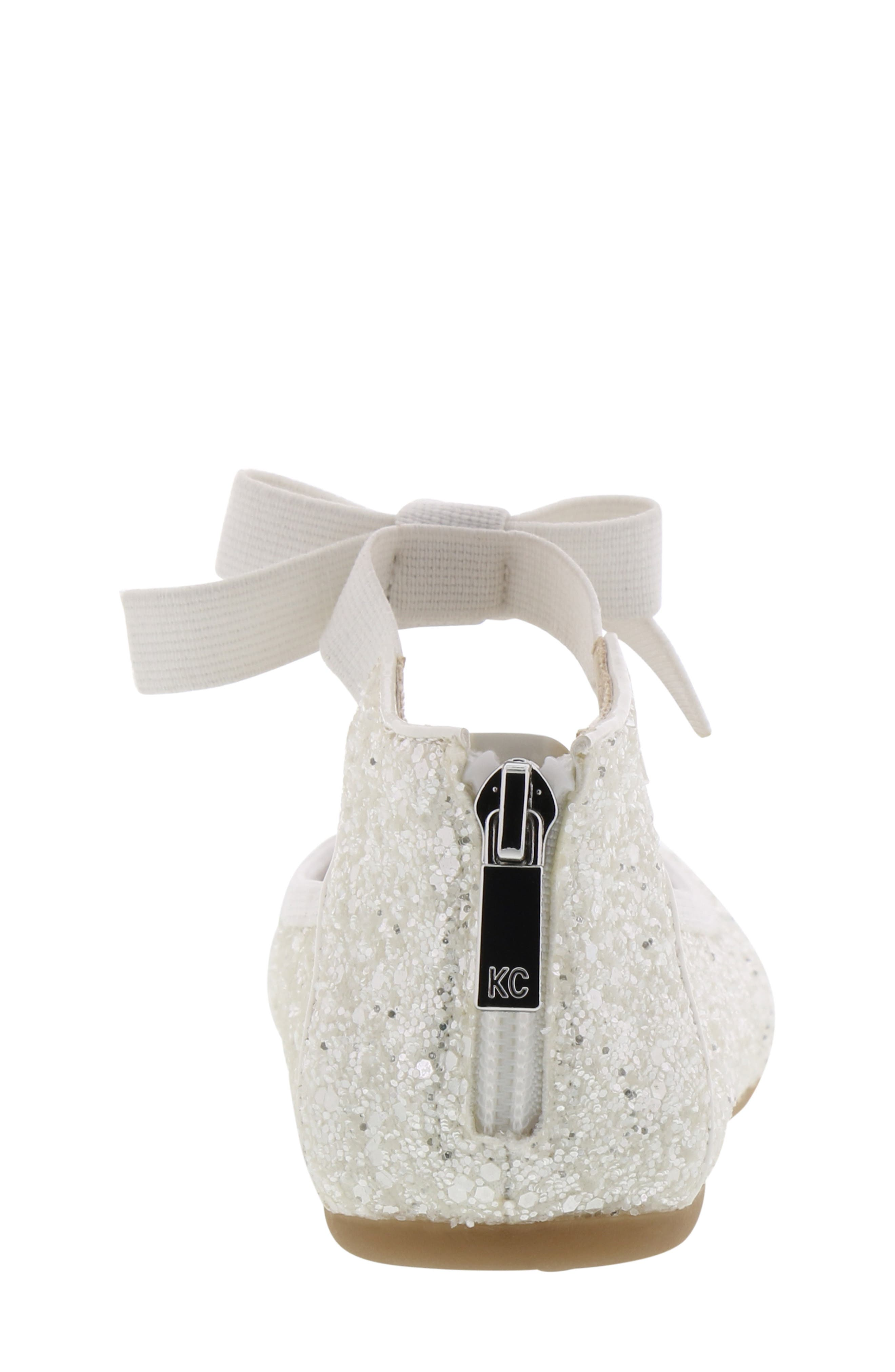 KENNETH COLE NEW YORK, Rose Bow Ballet Flat, Alternate thumbnail 7, color, WHITE SUGAR GLITTER