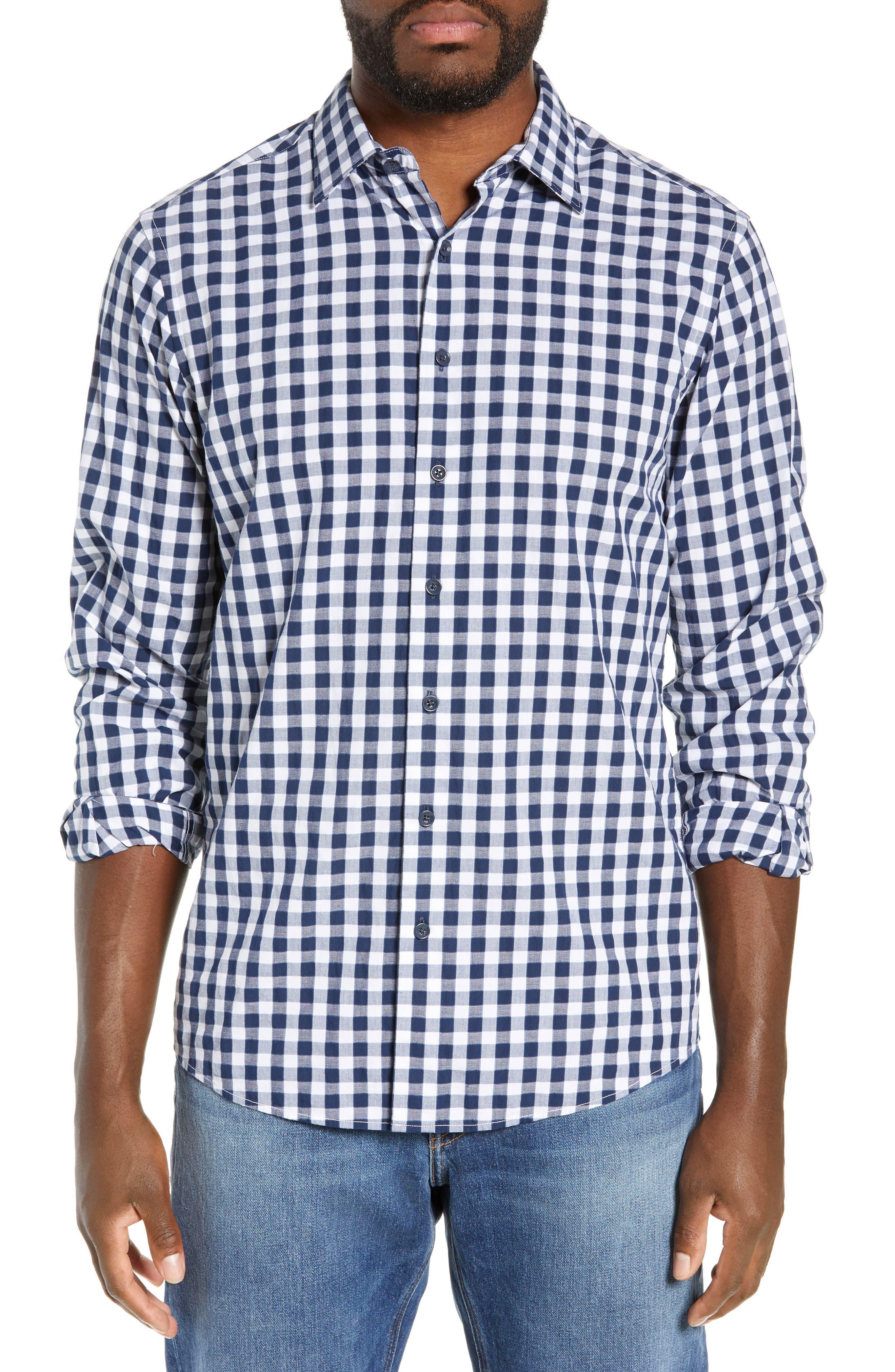 RODD & GUNN, Dixon Check Sport Shirt, Main thumbnail 1, color, NAVY