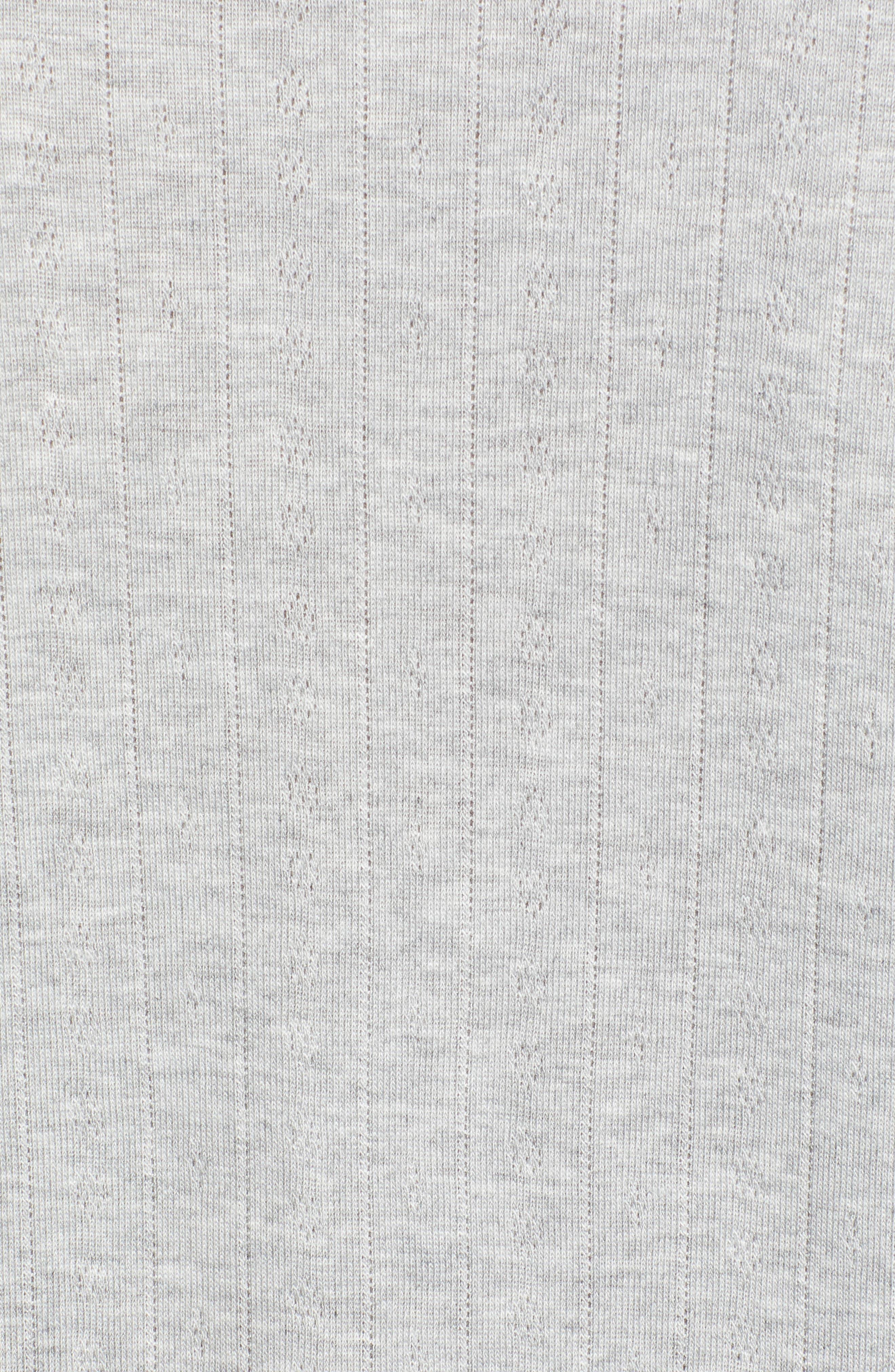 WIT & WISDOM, Pointelle Knit Top, Alternate thumbnail 5, color, LIGHT GREY