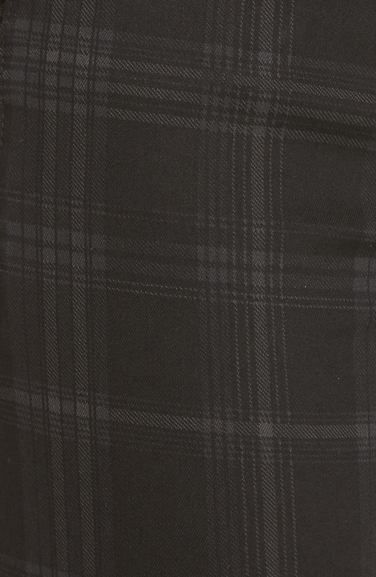 WIT & WISDOM, Ab-solution Side Zip Plaid Skinny Pants, Alternate thumbnail 6, color, BLACK