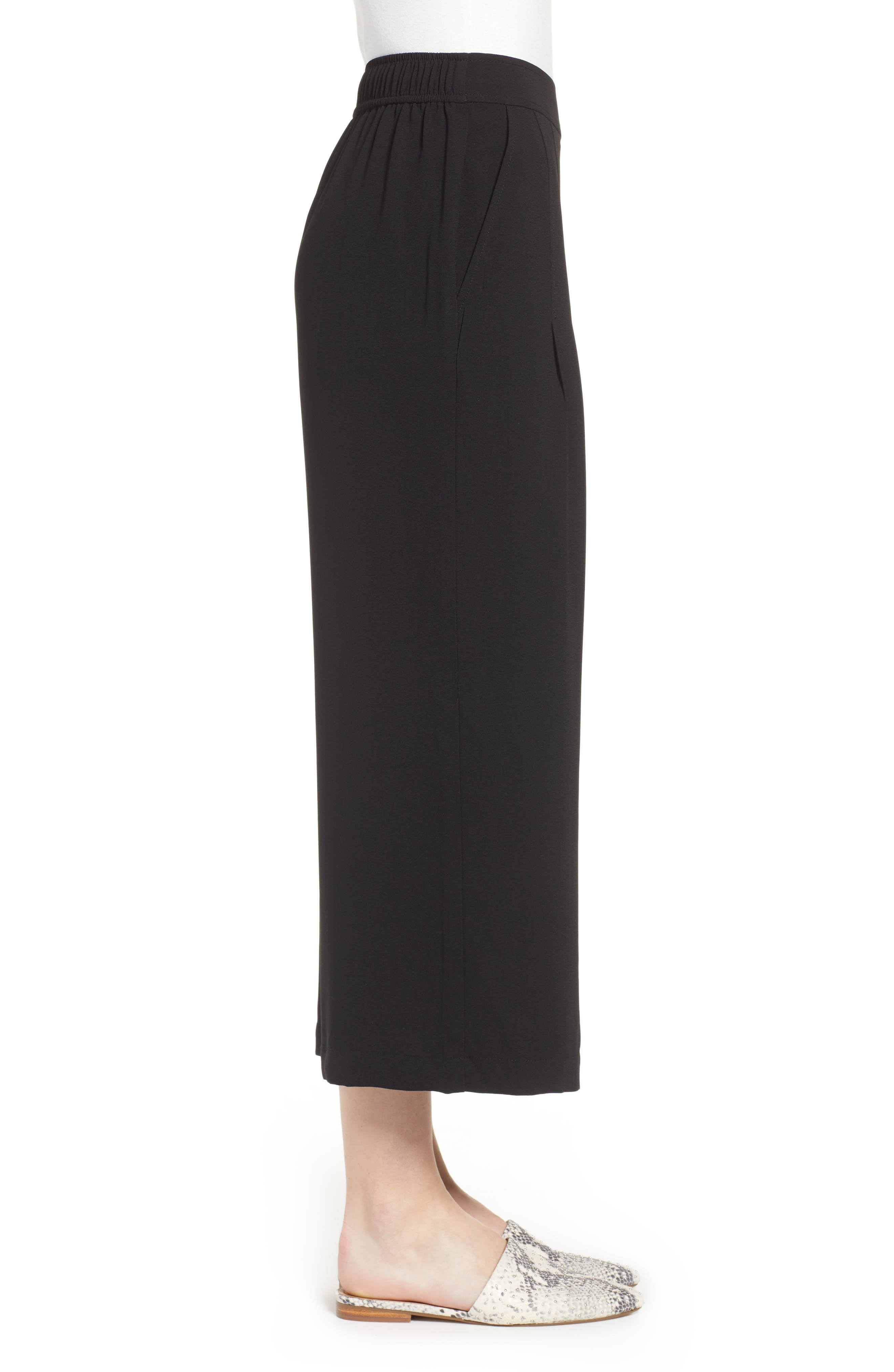 BP., High Waist Soft Wide Leg Crop Pants, Alternate thumbnail 5, color, BLACK