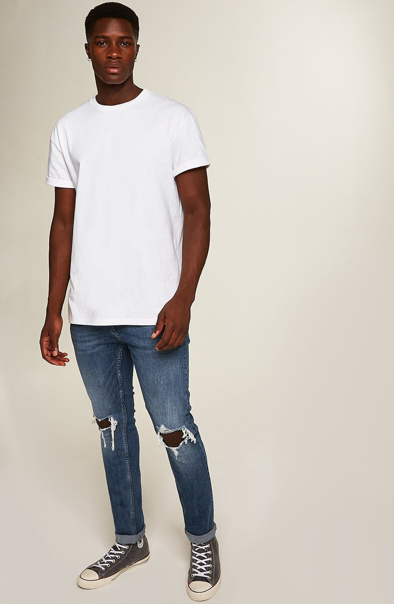TOPMAN, Polly Ripped Stretch Skinny Jeans, Alternate thumbnail 6, color, BLUE