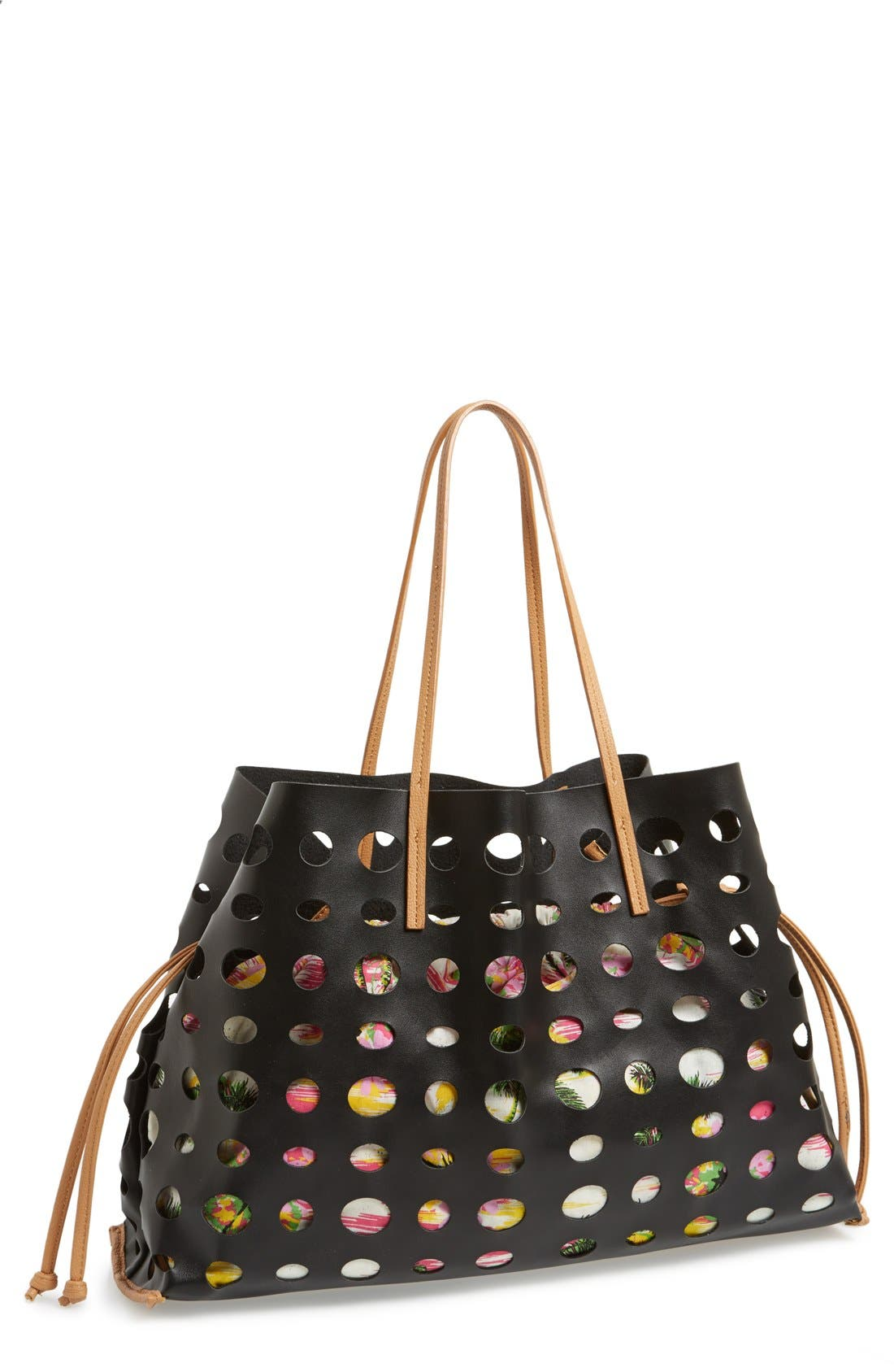 POVERTY FLATS BY RIAN, 'Large' Perforated Faux Leather Tote, Main thumbnail 1, color, 001