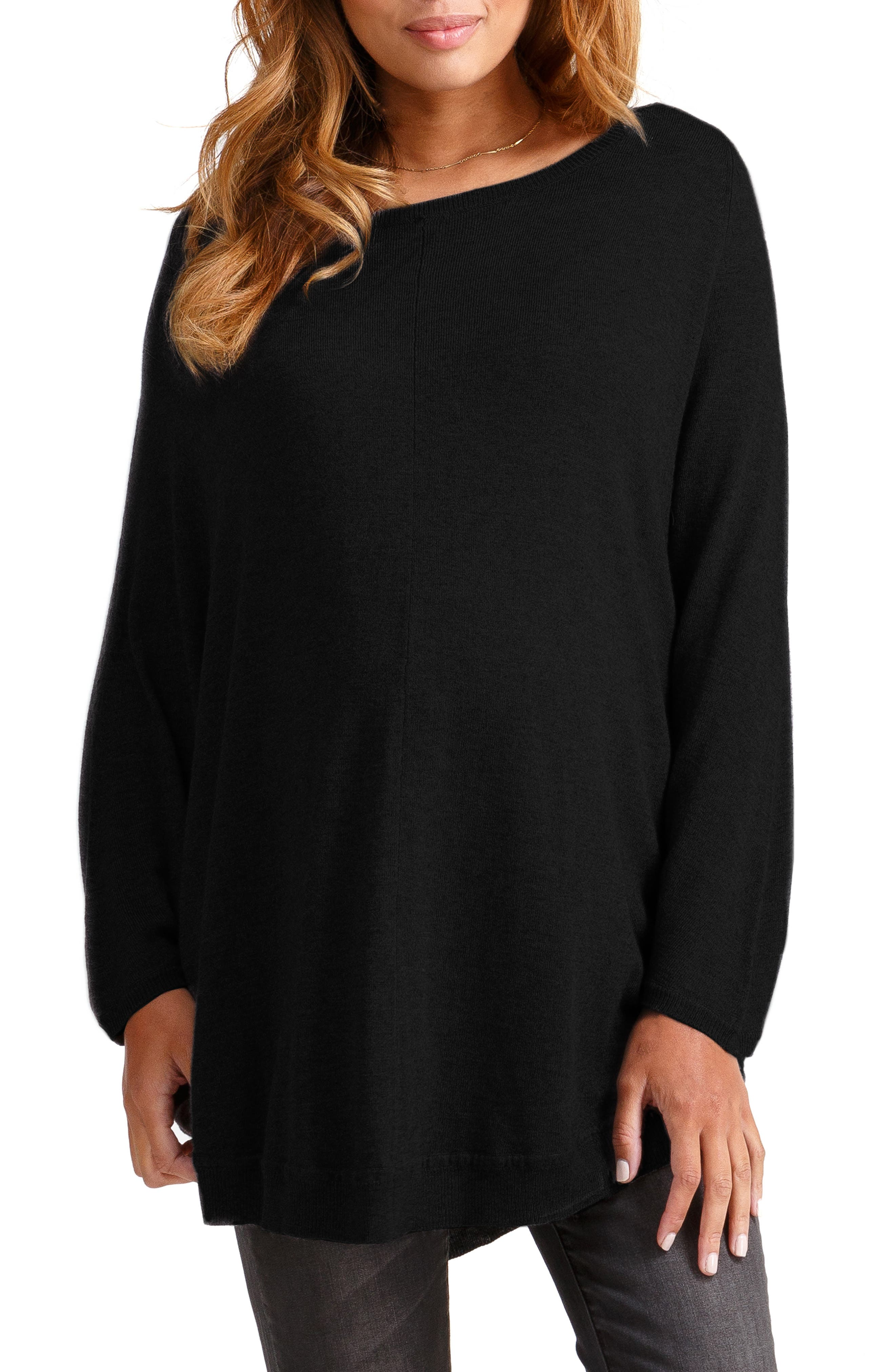 INGRID & ISABEL<SUP>®</SUP>, Batwing Poncho Maternity Sweater, Main thumbnail 1, color, JET BLACK