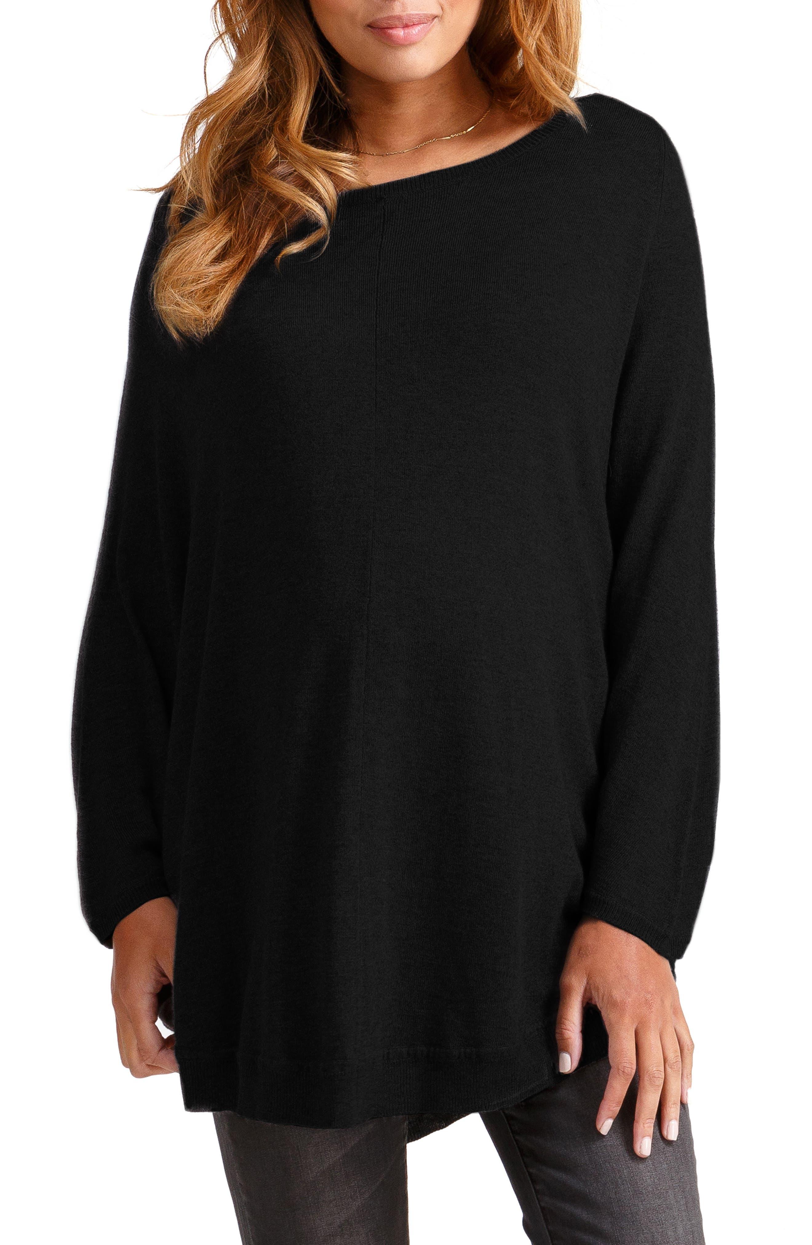 INGRID & ISABEL<SUP>®</SUP> Batwing Poncho Maternity Sweater, Main, color, JET BLACK