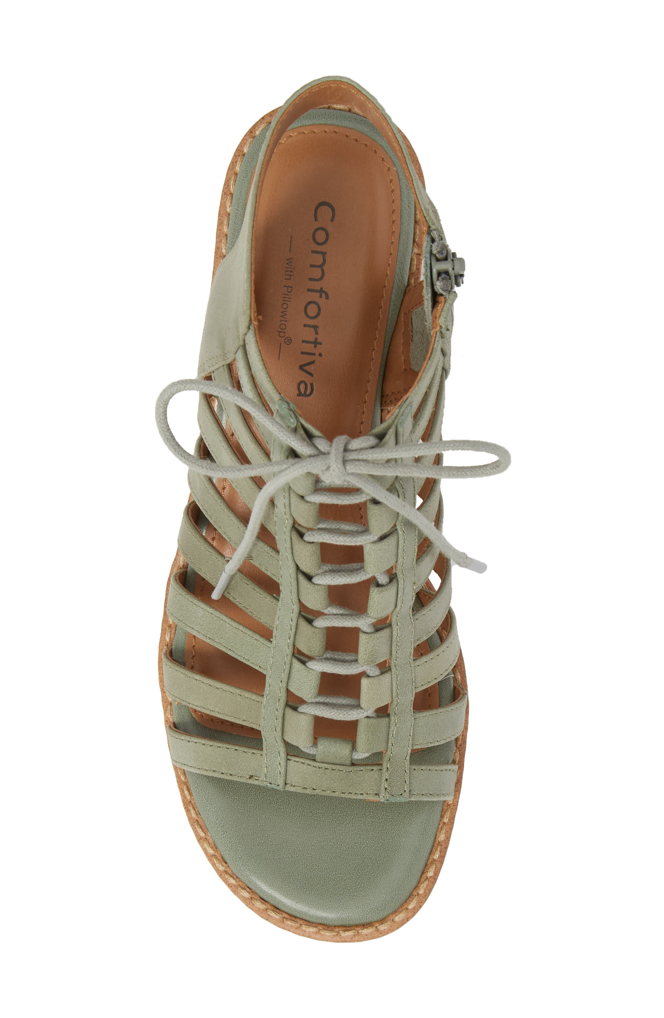 COMFORTIVA, Blossom Sandal, Alternate thumbnail 5, color, SAGE LEATHER
