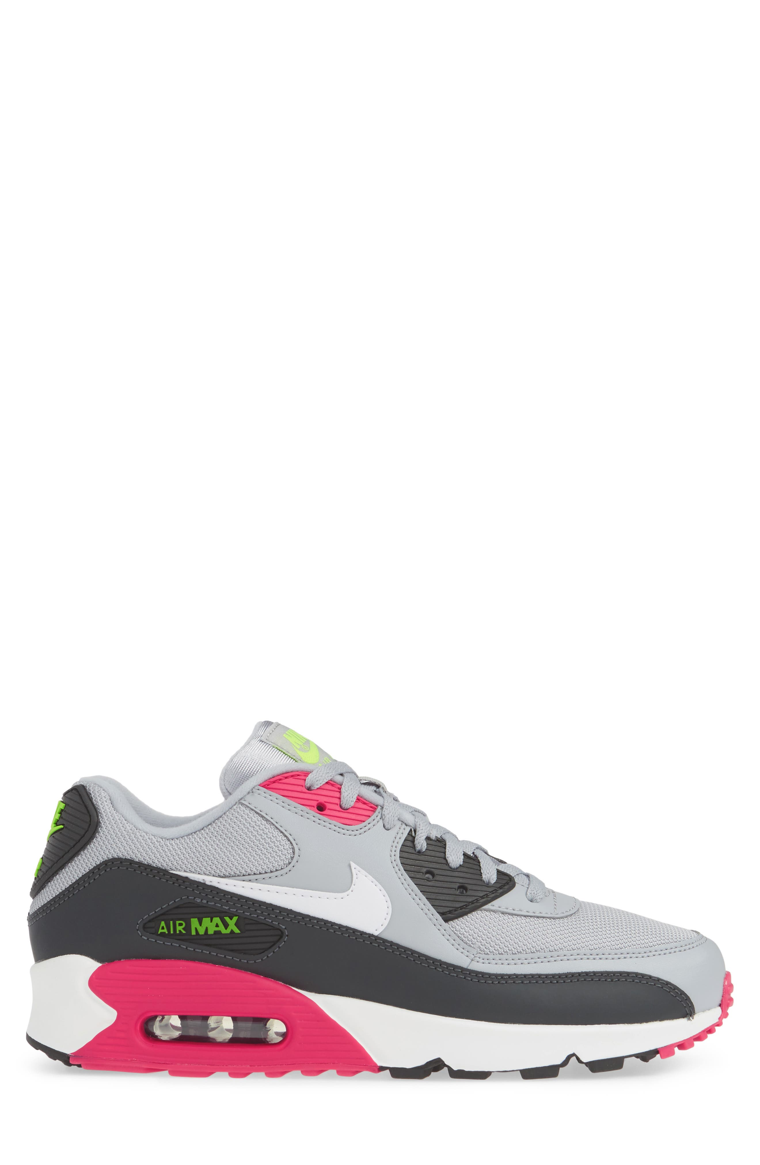 NIKE, Air Max 90 Essential Sneaker, Alternate thumbnail 3, color, WOLF GREY/ WHITE/ PINK
