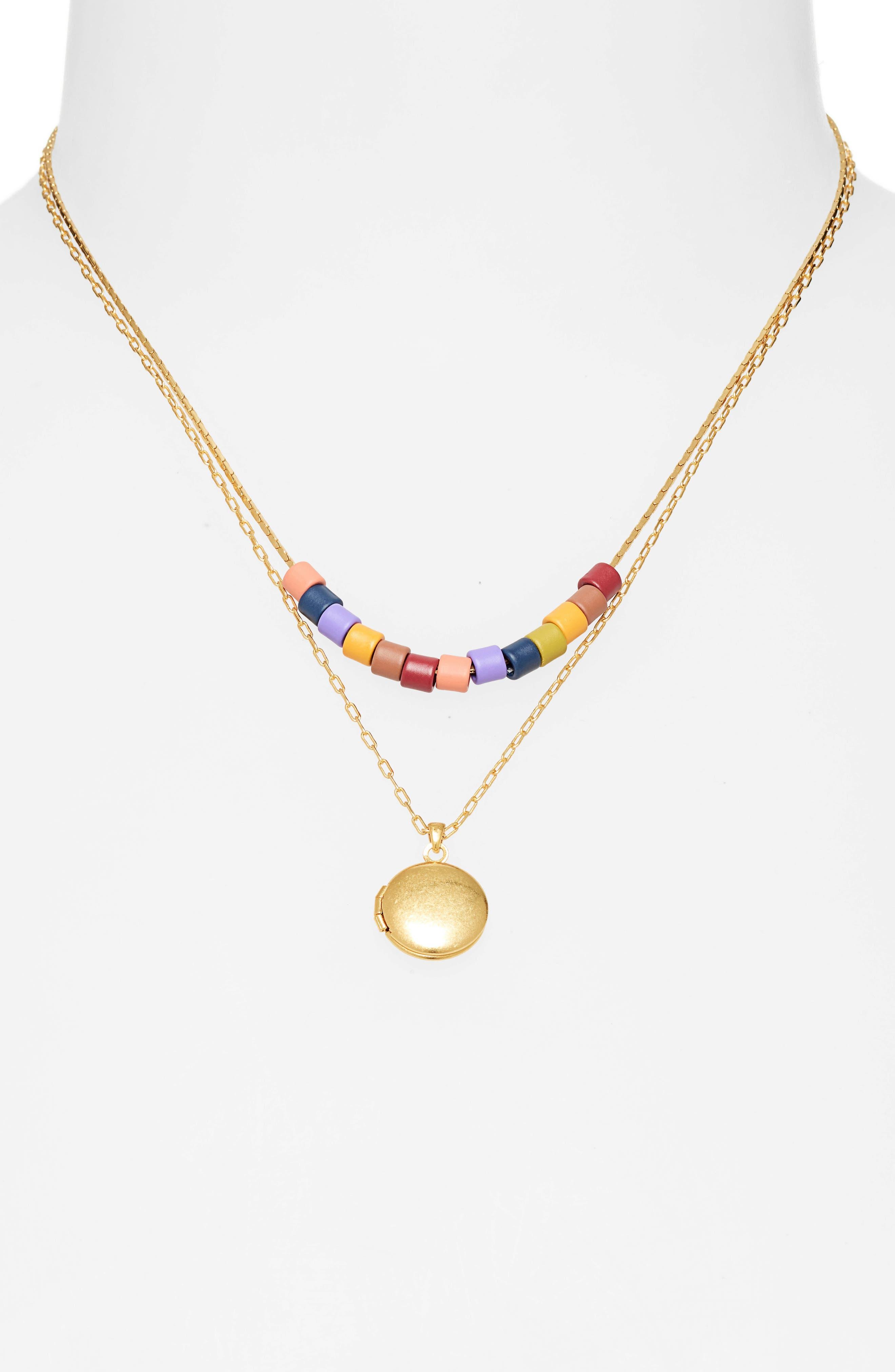 MADEWELL, Set of 2 Rainbow Beaded Locket Necklaces, Alternate thumbnail 2, color, RAINBOW MULTI