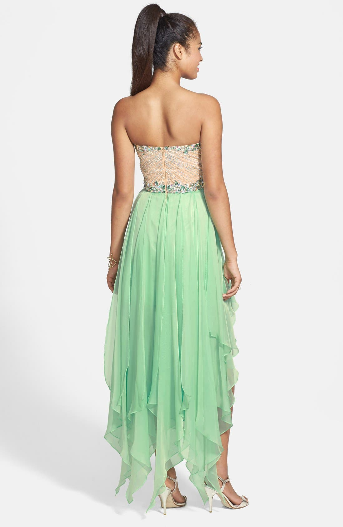 SHERRI HILL, Strapless High/Low Gown, Alternate thumbnail 2, color, 330