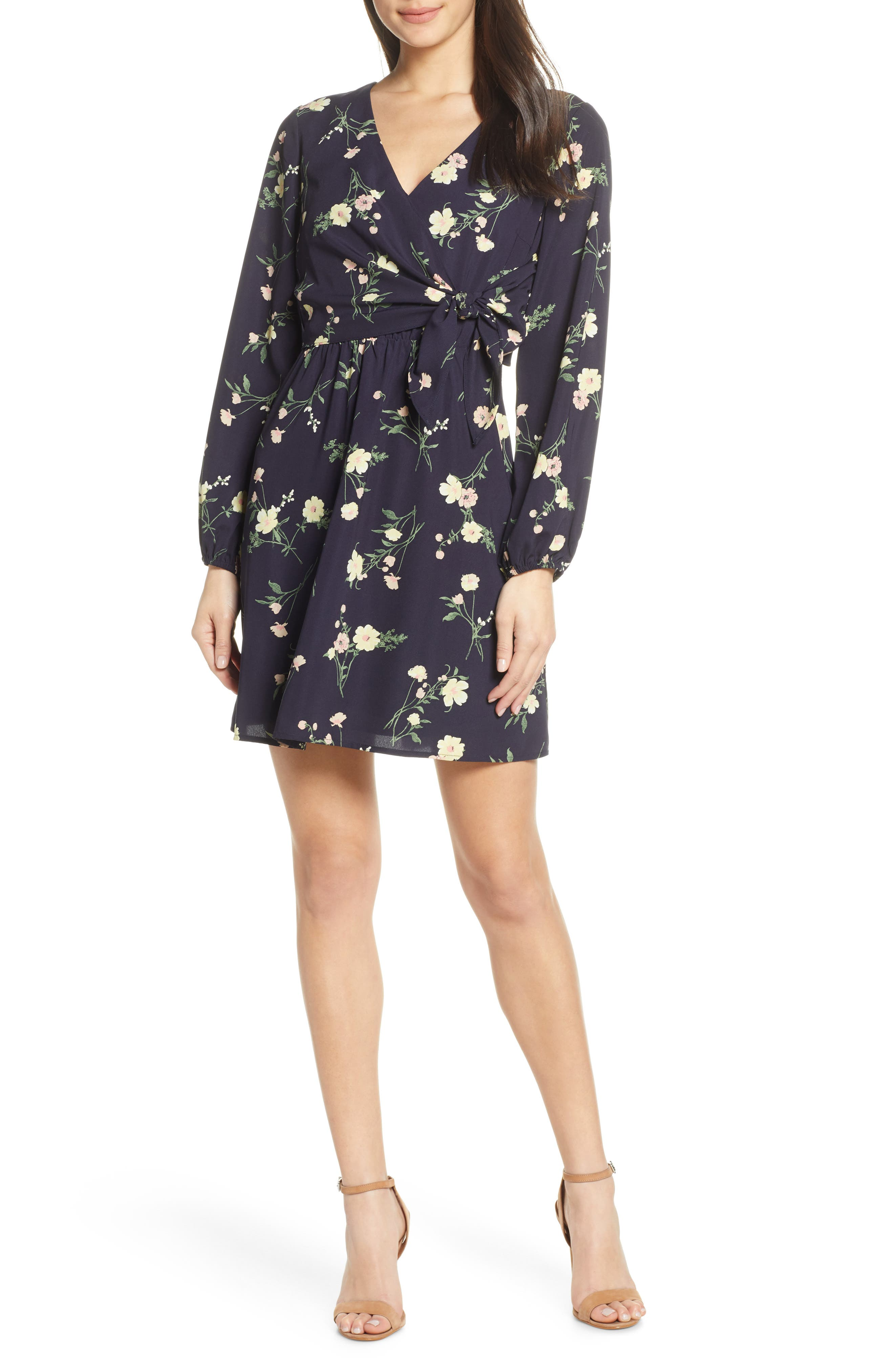 19 COOPER, Long Sleeve Floral Dress, Main thumbnail 1, color, NAVY FLORAL