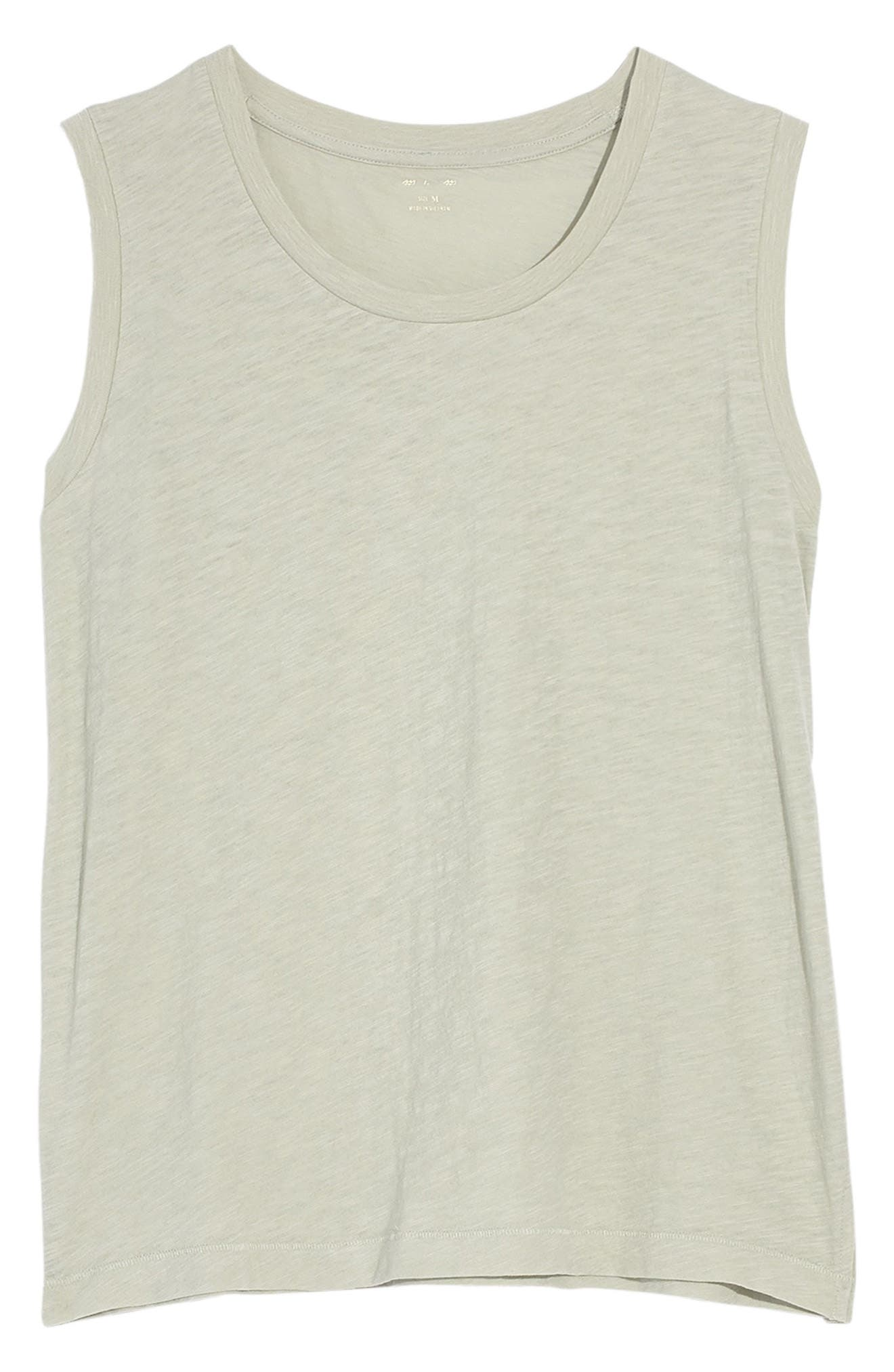 MADEWELL Whisper Cotton Crewneck Muscle Tank, Main, color, SUNFADED SAGE
