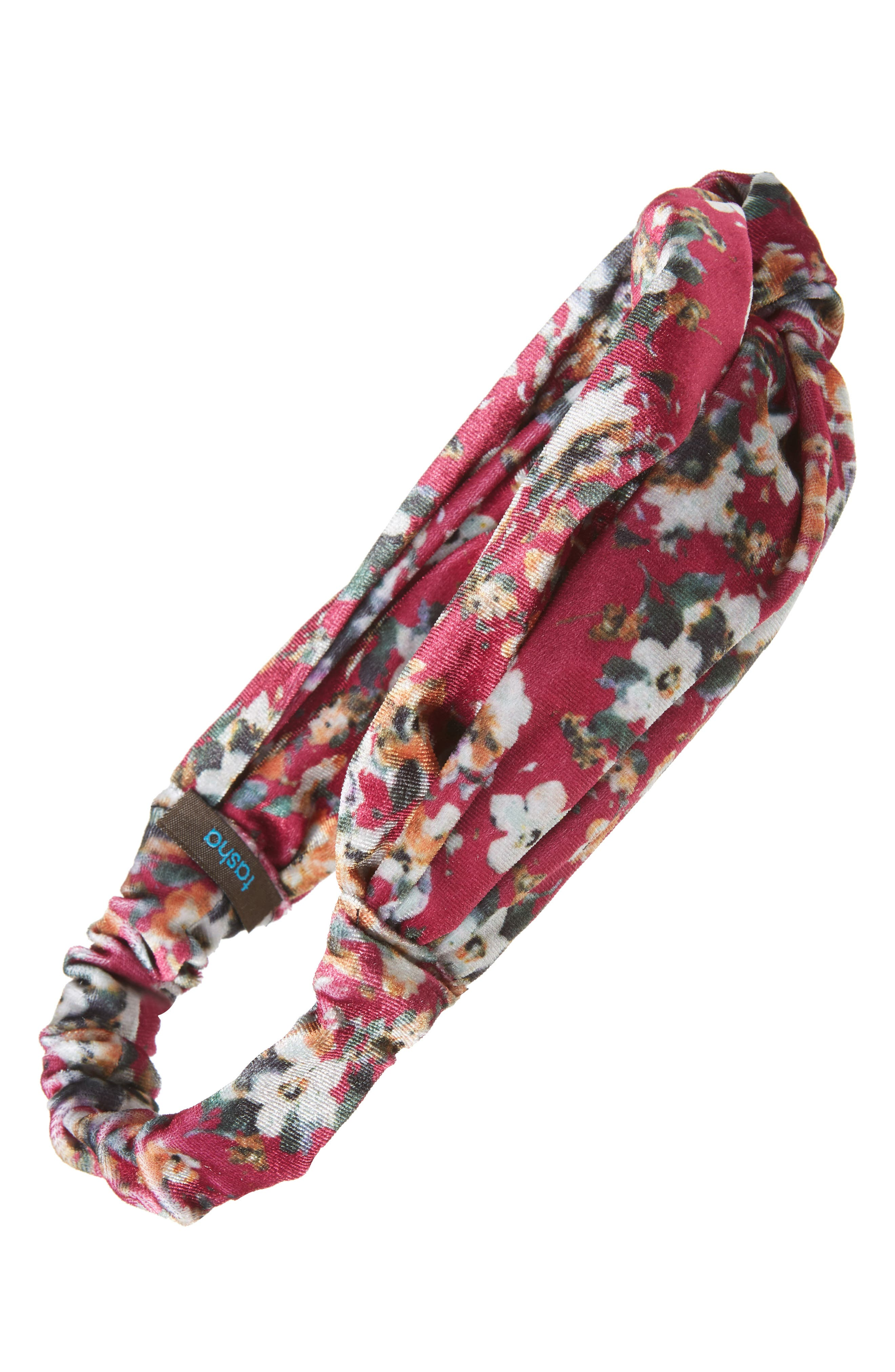 TASHA, Floral Velvet Knotted Head Wrap, Main thumbnail 1, color, RED