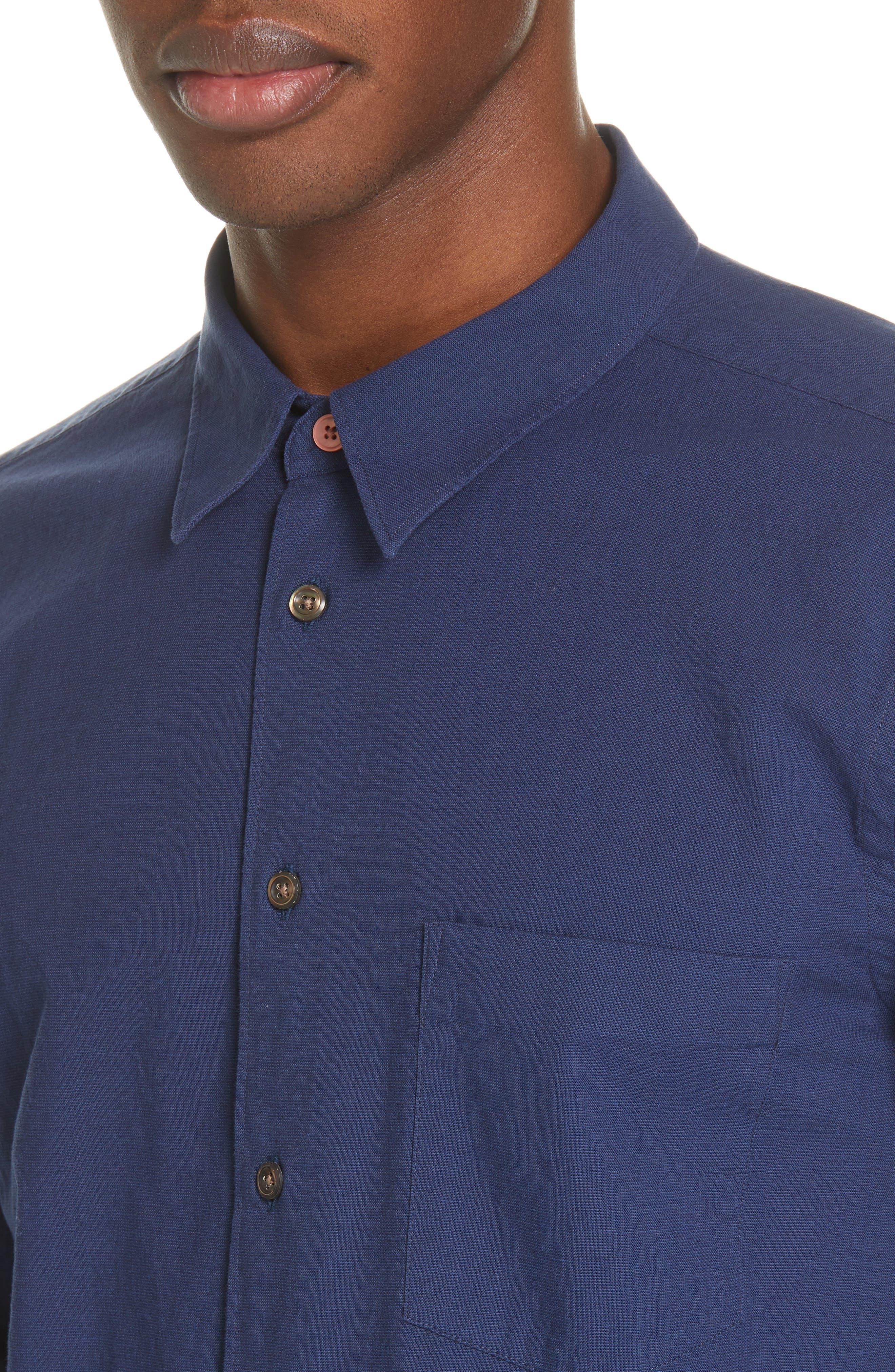 PS PAUL SMITH, Contrast Sport Shirt, Alternate thumbnail 2, color, BLUE