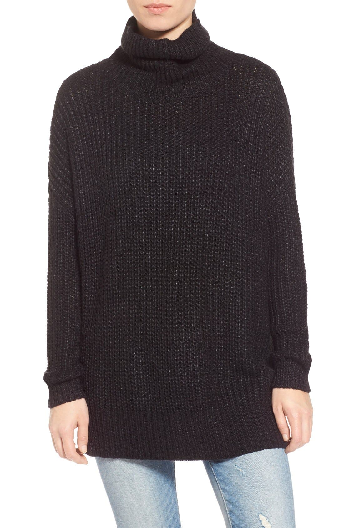 LEITH, Oversize Turtleneck Sweater, Main thumbnail 1, color, 001