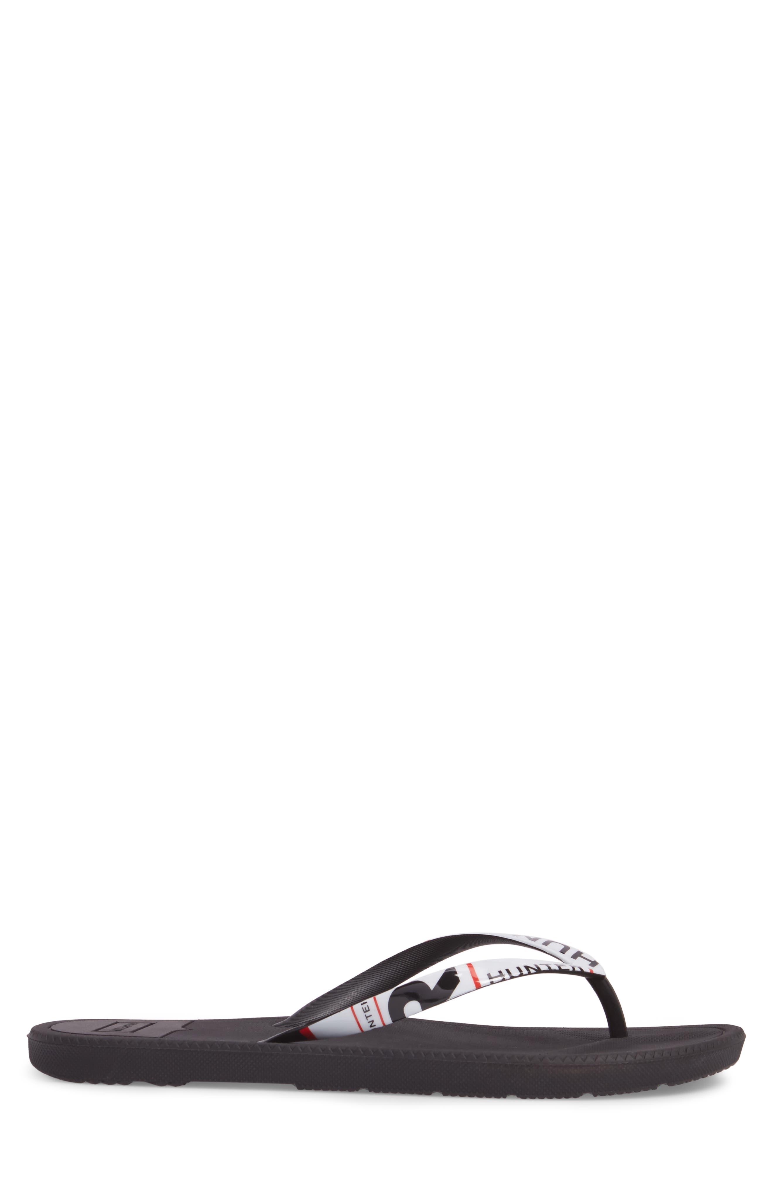 HUNTER, Original Exploded Logo Flip Flop, Alternate thumbnail 3, color, BLACK