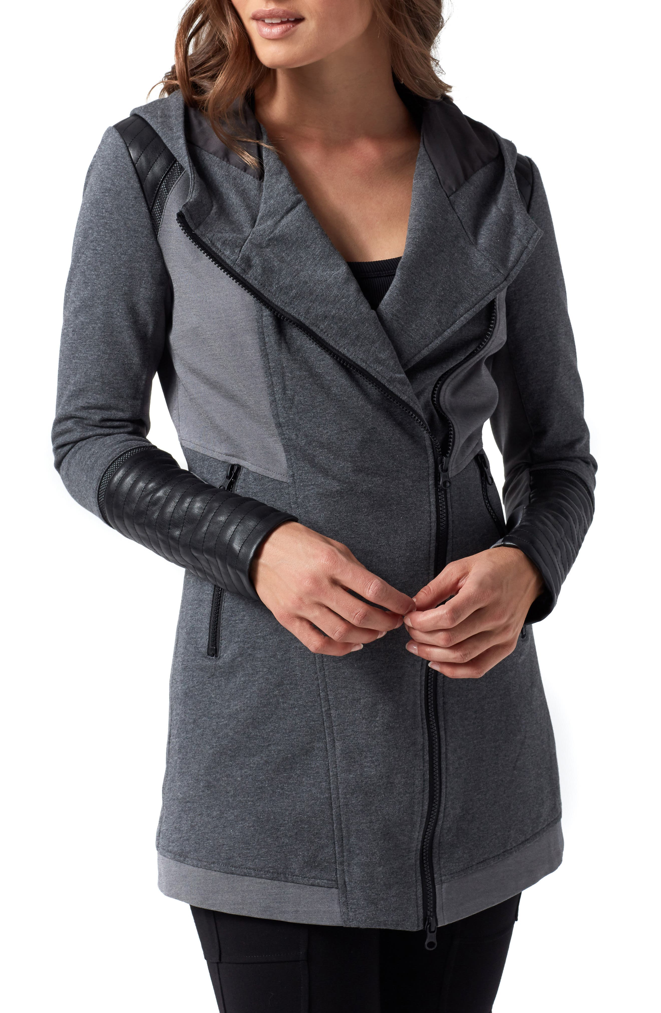 BLANC NOIR, Traveller Mesh Inset Jacket, Main thumbnail 1, color, CHARCOAL
