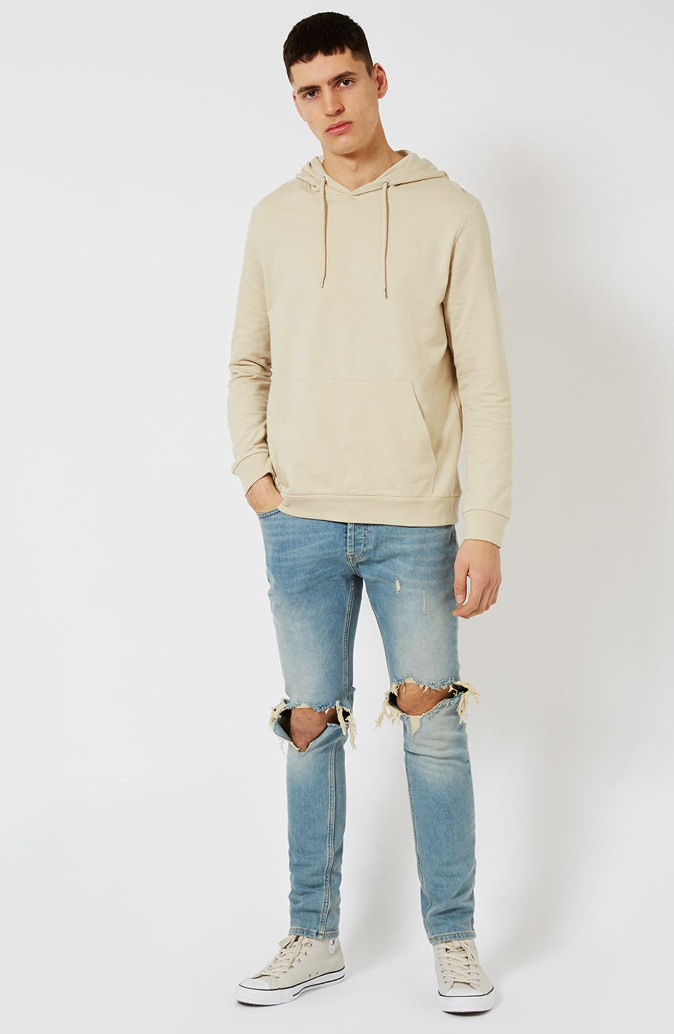 TOPMAN, Ripped Stretch Skinny Jeans, Alternate thumbnail 9, color, LIGHT WASH DENIM