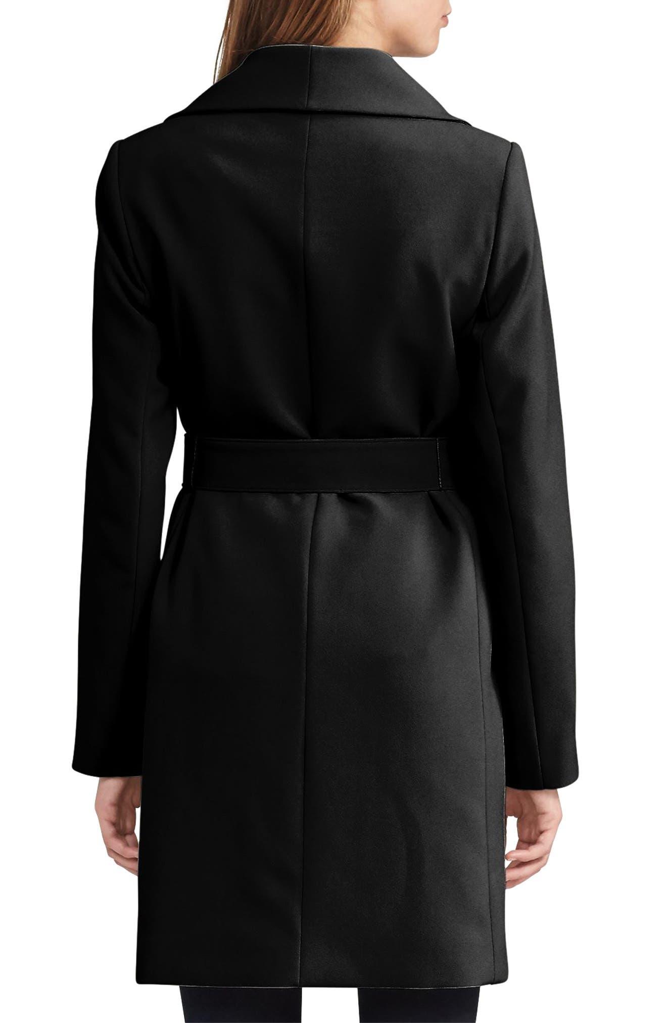 LAUREN RALPH LAUREN, Belted Drape Front Coat, Alternate thumbnail 2, color, 002