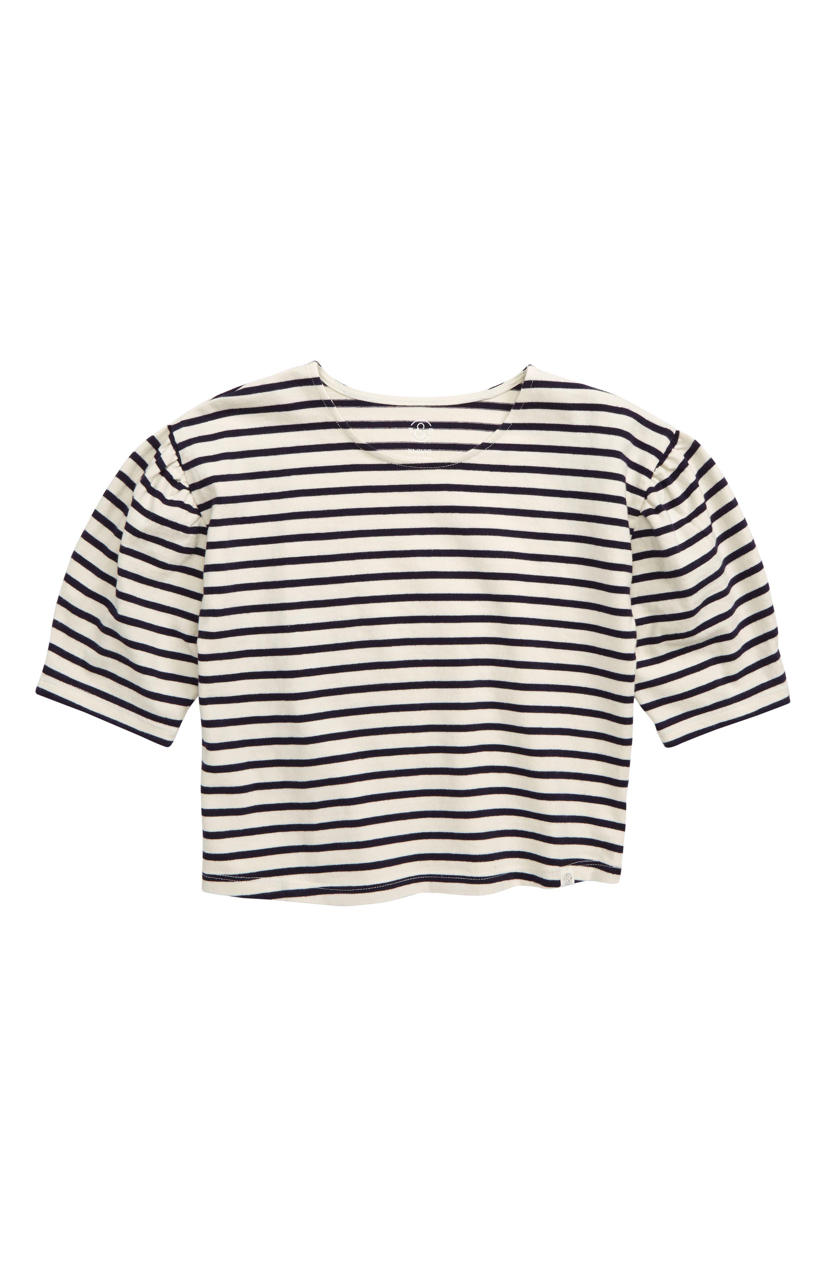 TREASURE & BOND Puff Sleeve Top, Main, color, IVORY ANTIQUE- NAVY BRETON