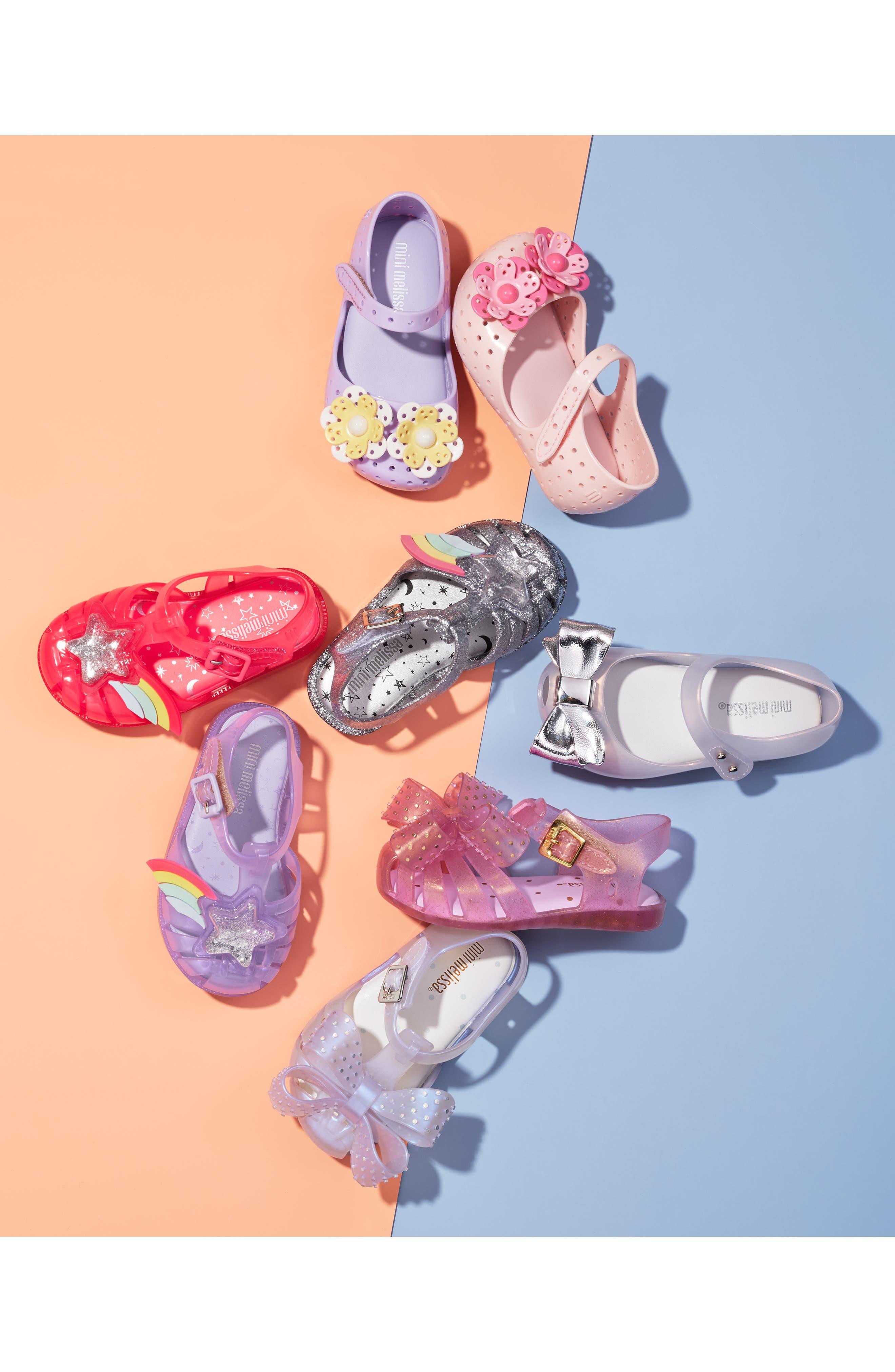 MINI MELISSA, Possession II Glitter Sandal, Alternate thumbnail 7, color, PURPLE