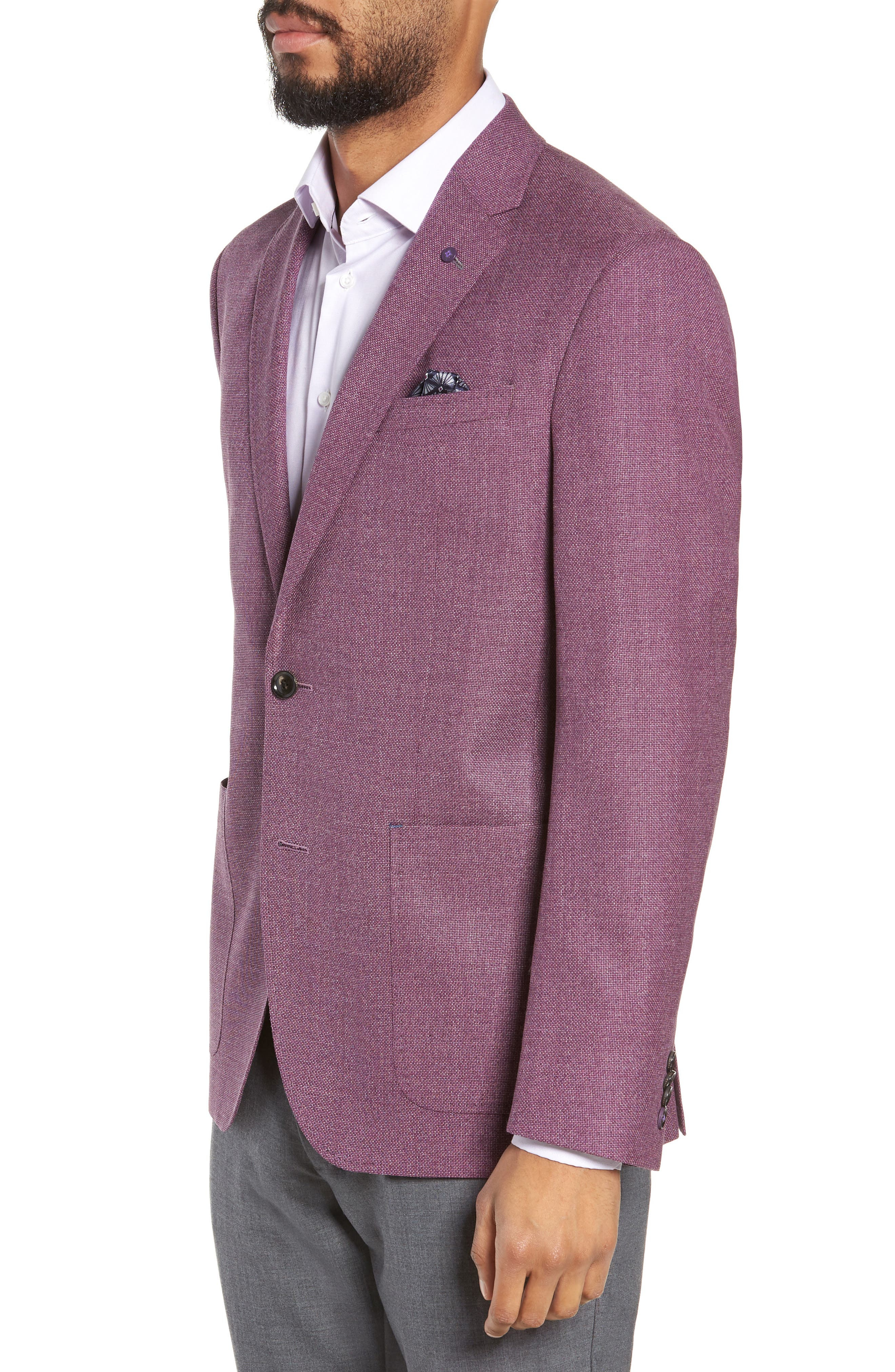 TED BAKER LONDON, Kyle Trim Fit Wool Sport Coat, Alternate thumbnail 3, color, BERRY