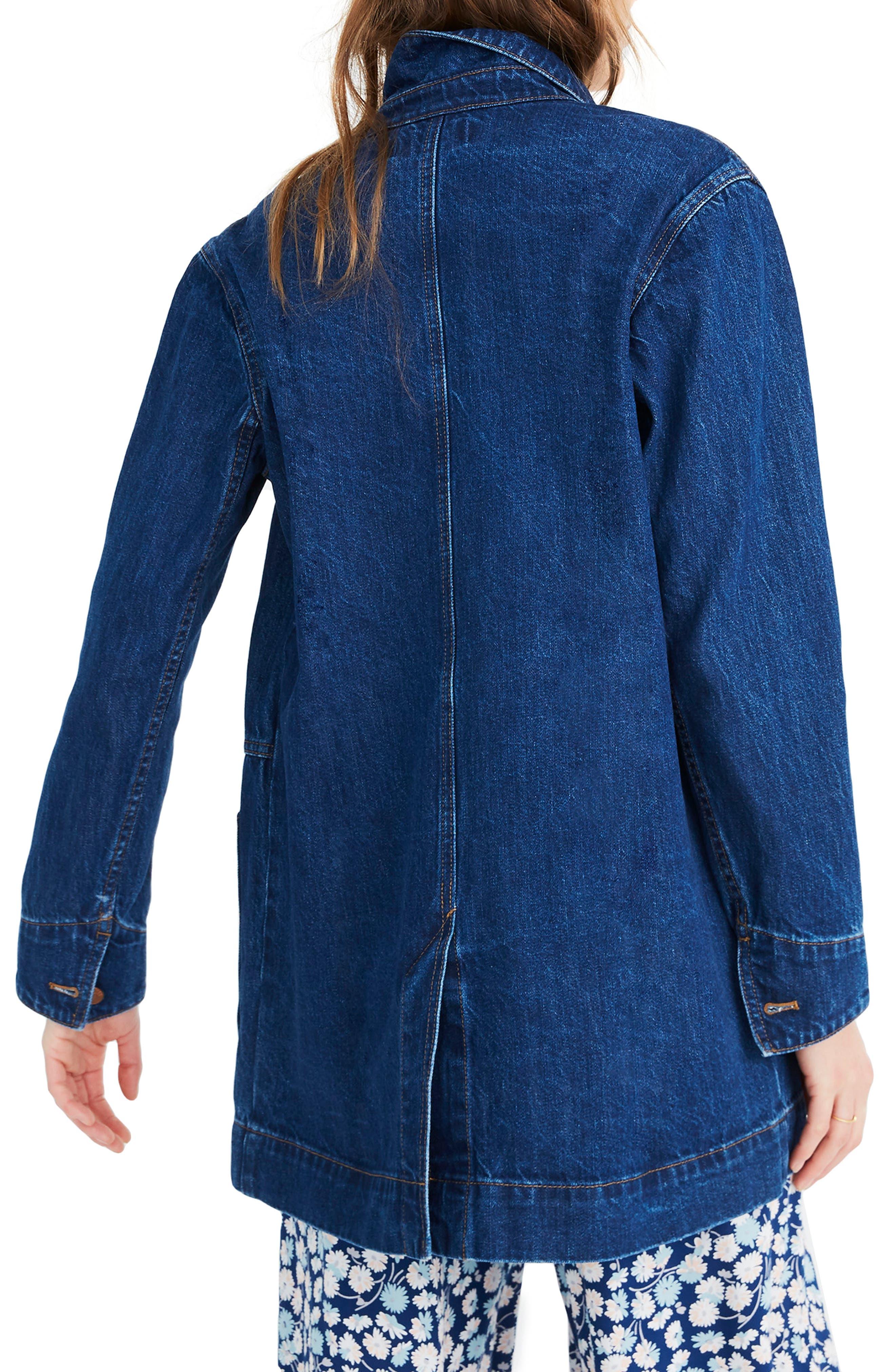 MADEWELL, Oversized Denim Chore Jacket, Alternate thumbnail 2, color, 400