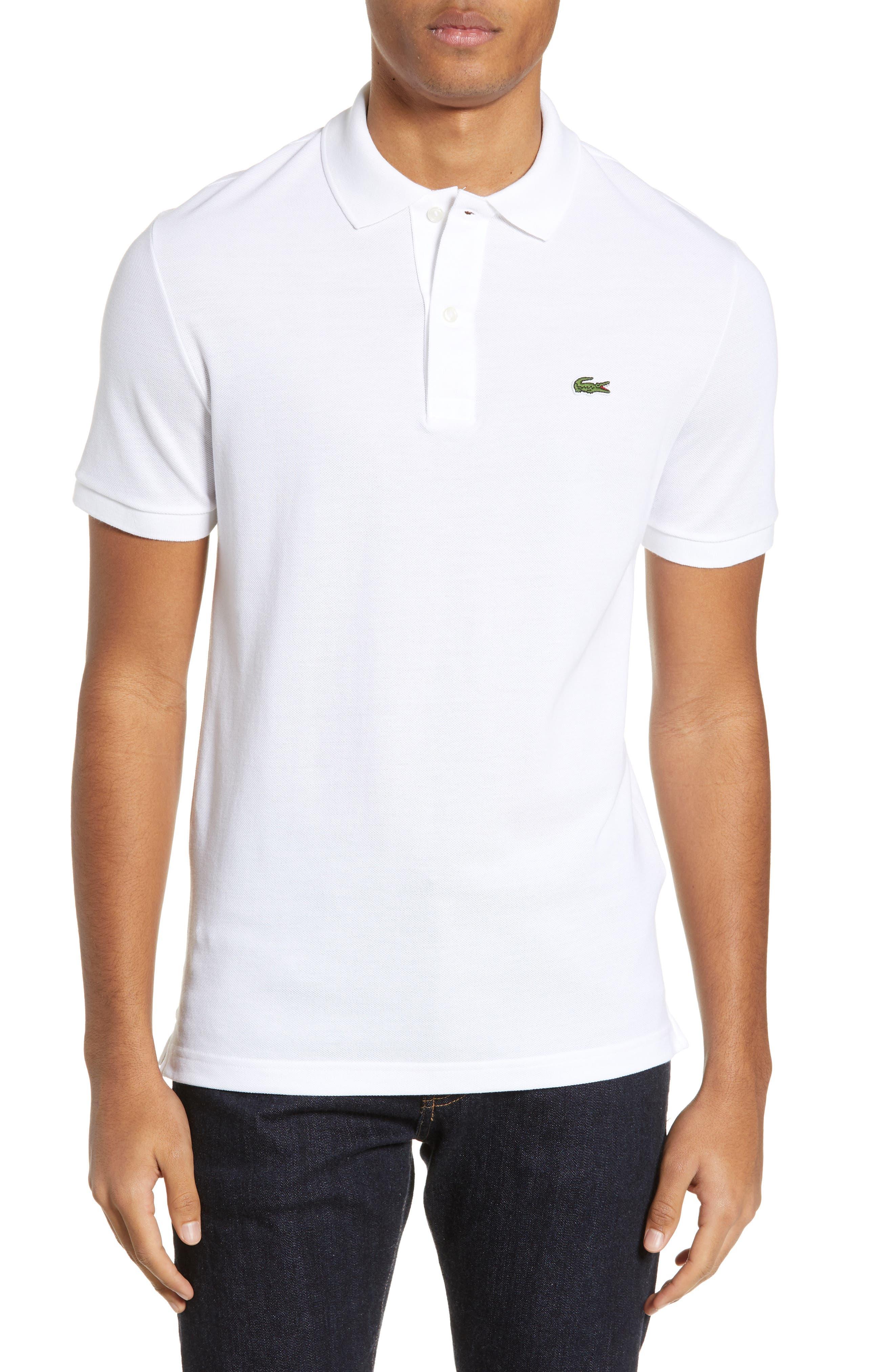 LACOSTE Slim Fit Piqué Polo, Main, color, WHITE