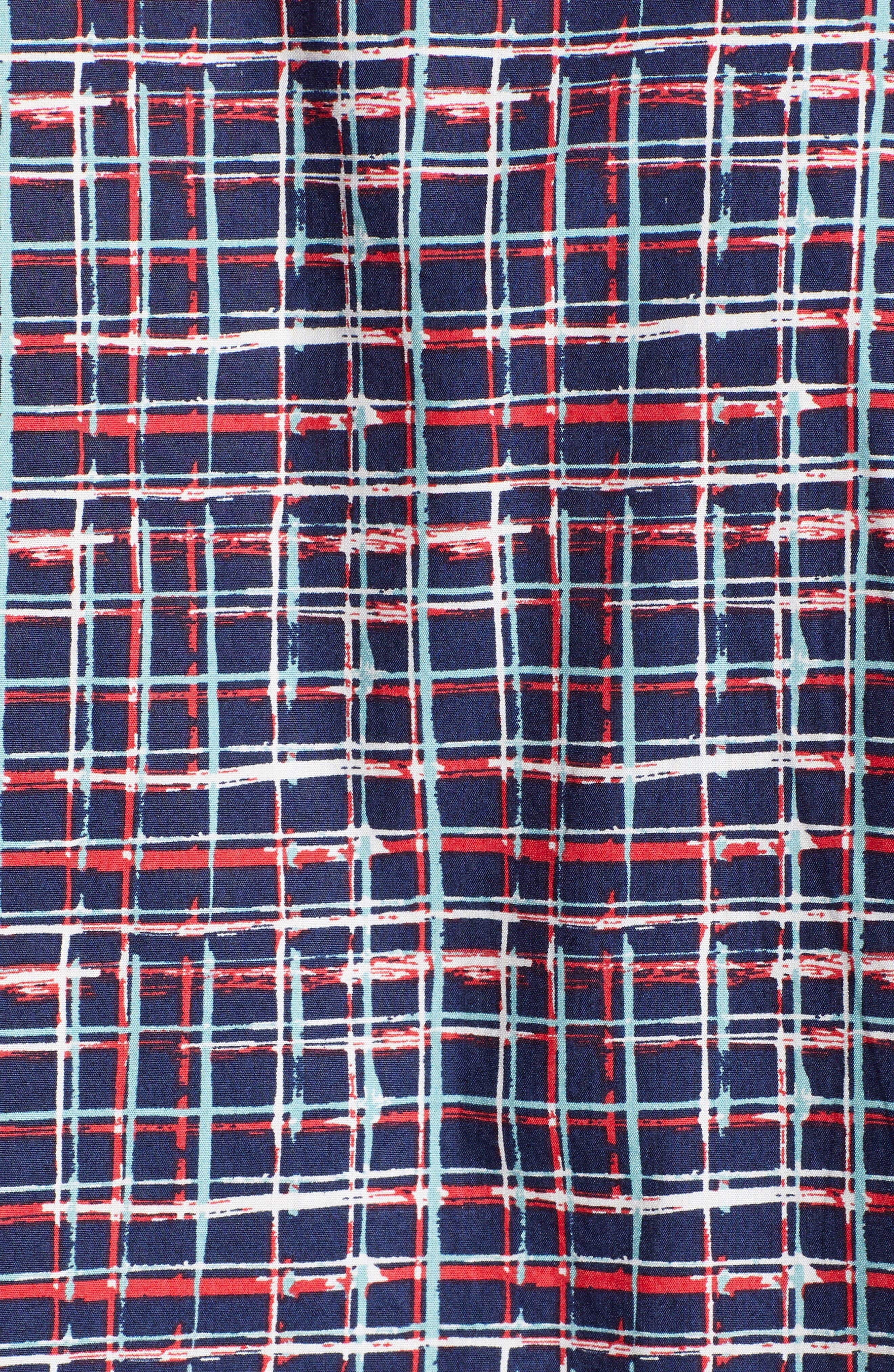 PSYCHO BUNNY, Grid Print Camp Shirt, Alternate thumbnail 5, color, CASSIS