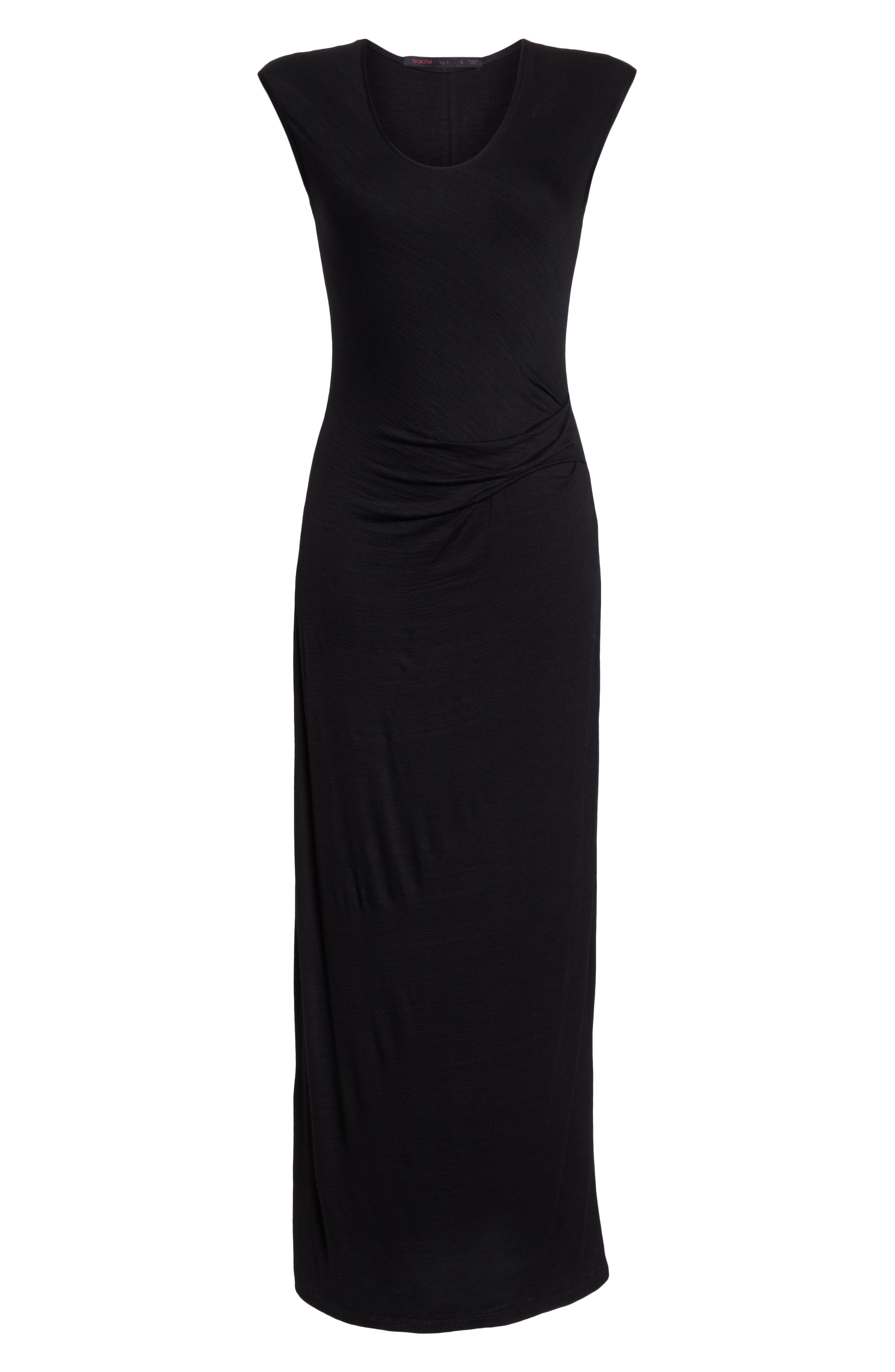 FRAICHE BY J, Ruched Jersey Maxi Dress, Alternate thumbnail 7, color, BLACK